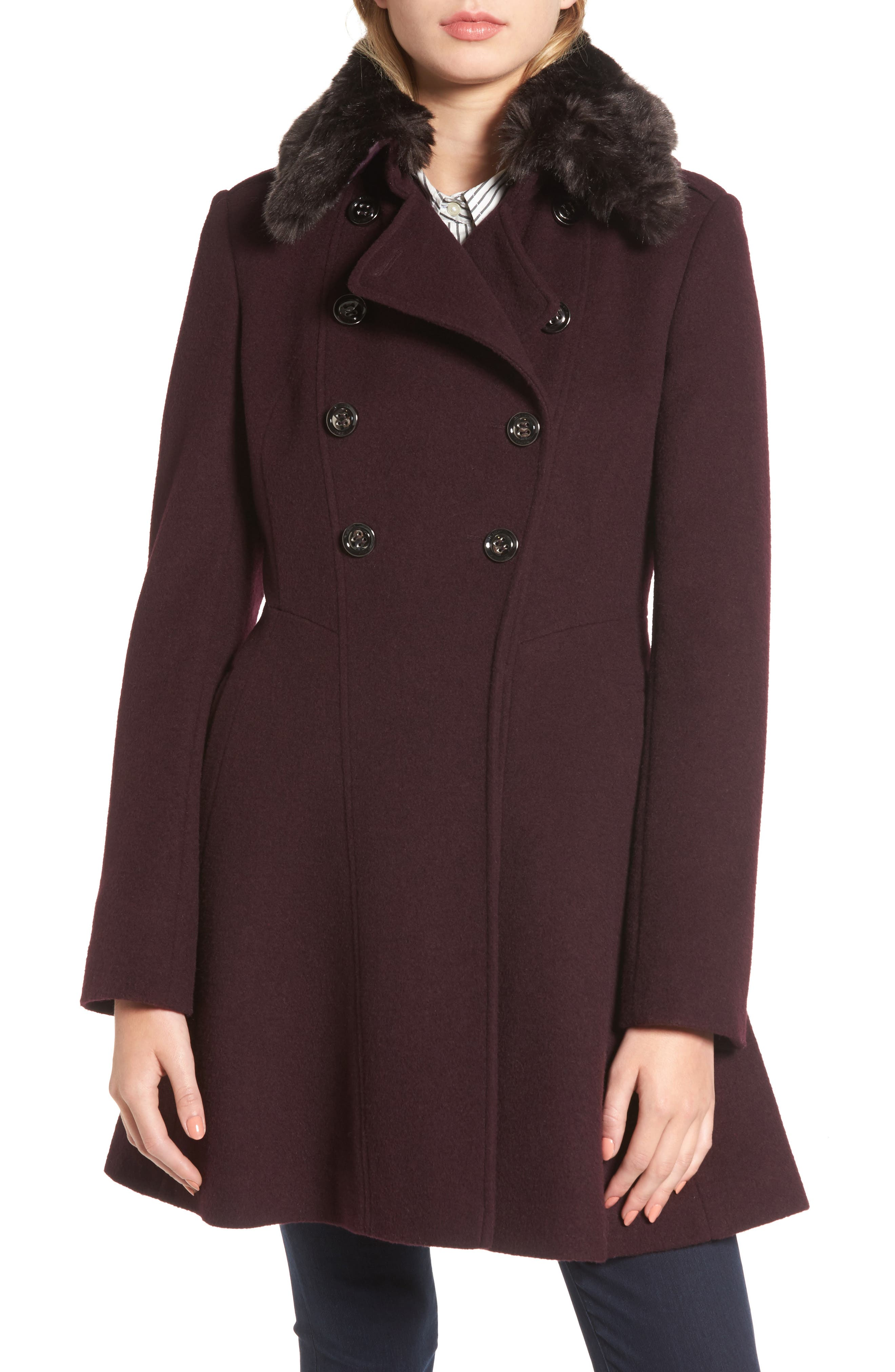 Double Breasted Coat with Faux Fur Collar,                         Main,                         color, 607