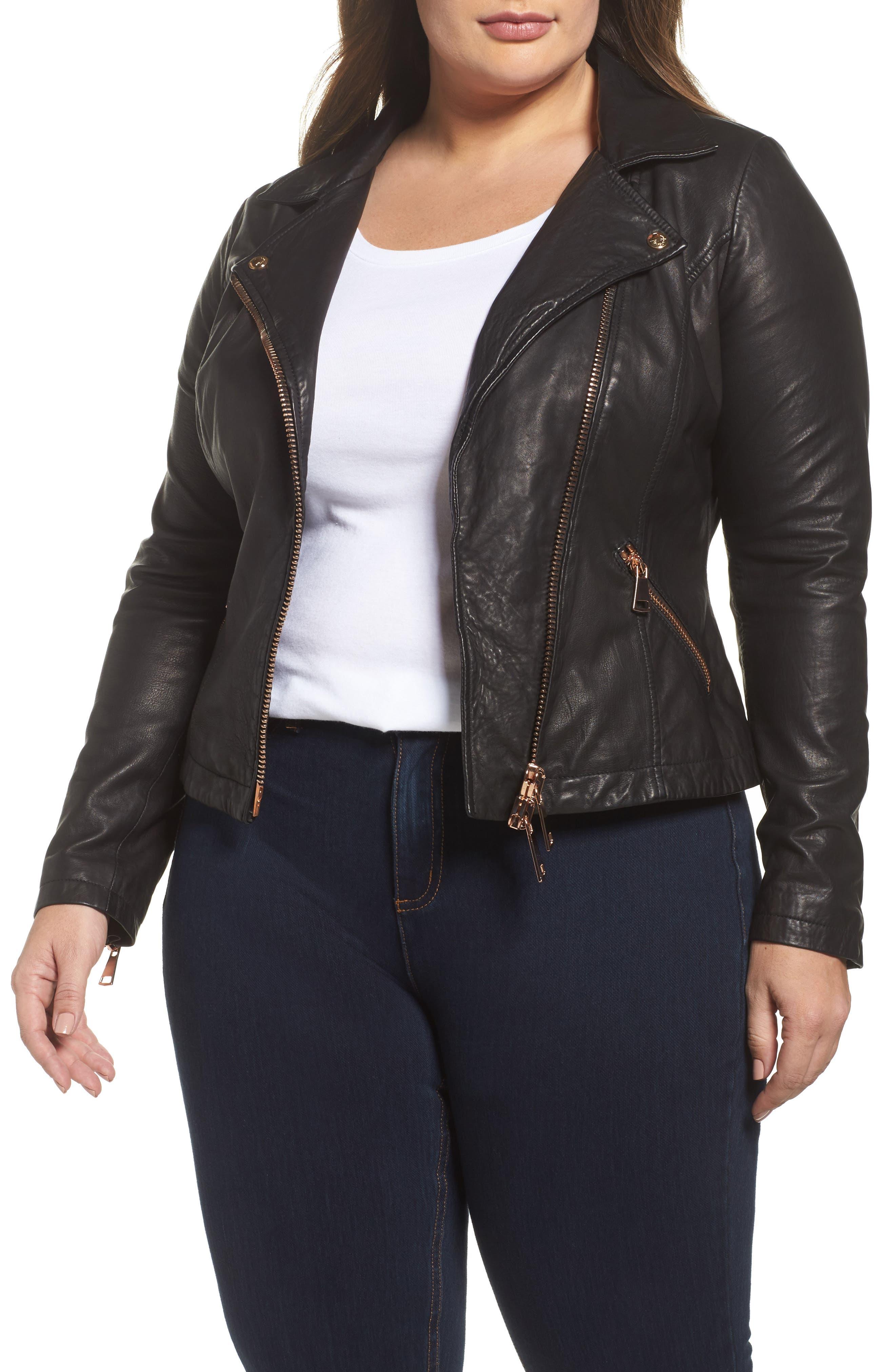 Ebanista Leather Biker Jacket,                         Main,                         color, 001