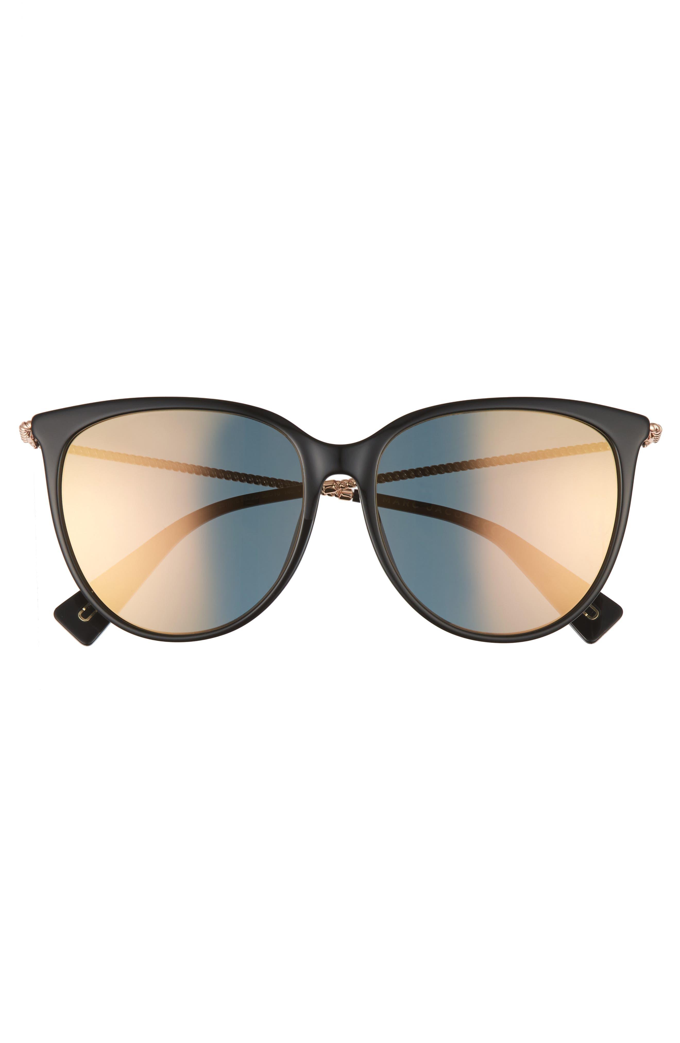 MARC JACOBS,                             56mm Cat Eye Sunglasses,                             Alternate thumbnail 3, color,                             001