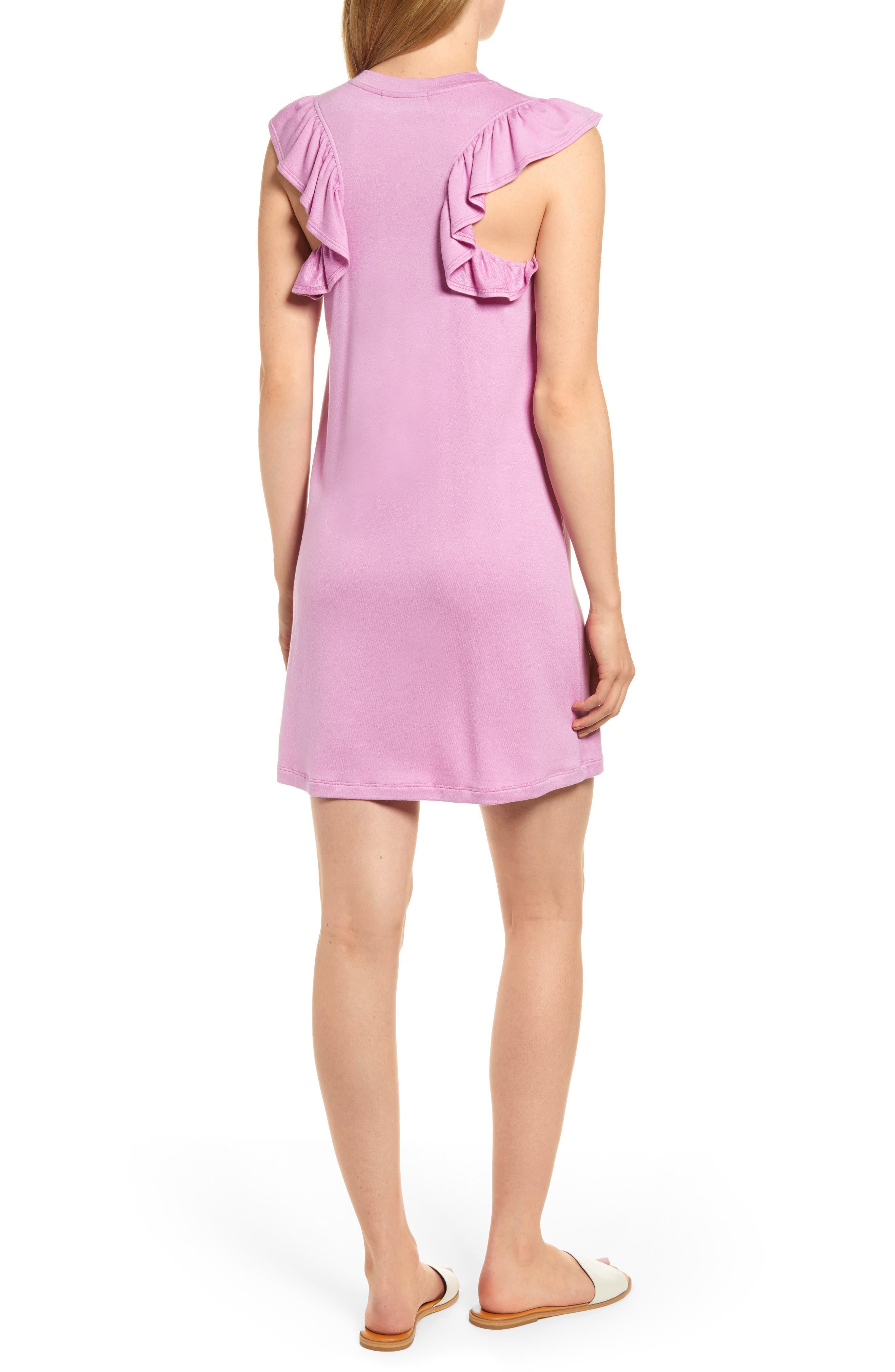 x Hi Sugarplum! Laguna Soft Jersey Ruffle Back T-Shirt Dress,                             Alternate thumbnail 2, color,                             PEONY