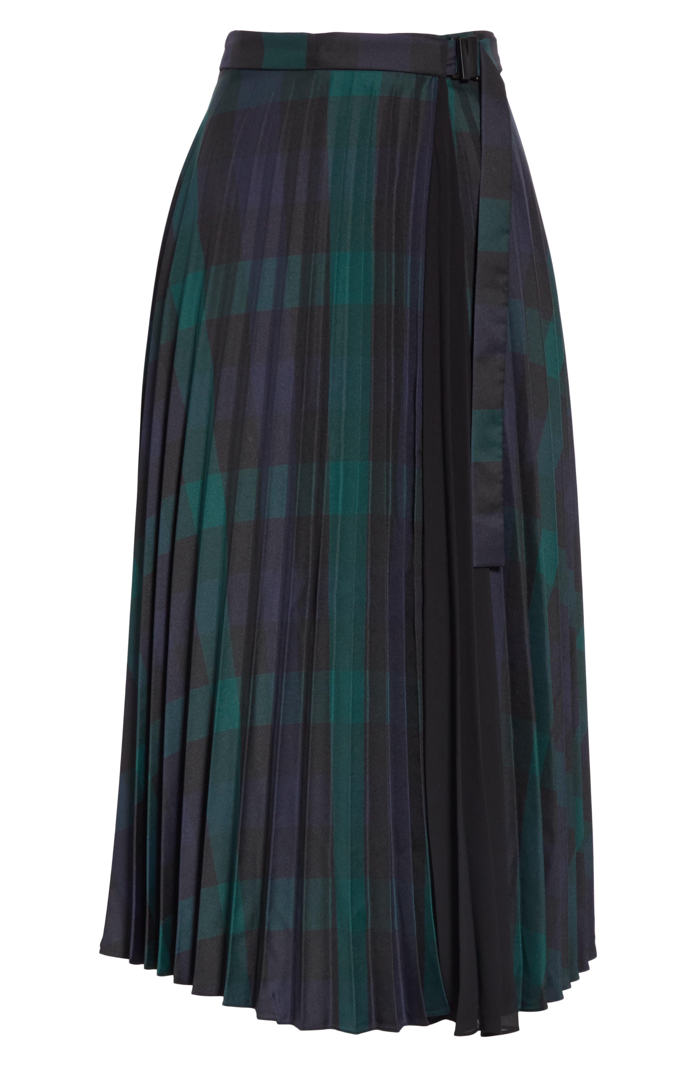 Plaid Pleated Midi Skirt,                             Alternate thumbnail 6, color,                             DEEP NAVY