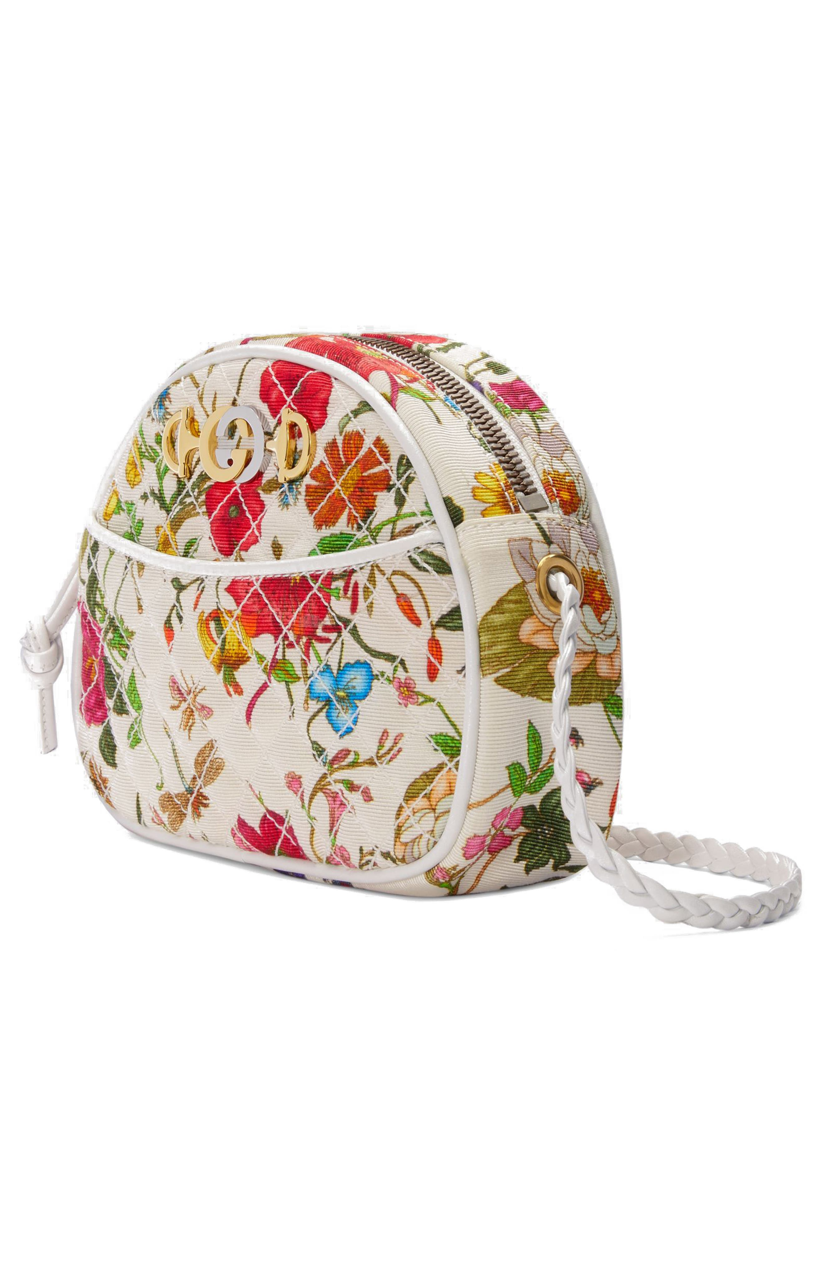 Quilted Floral Print Dome Crossbody Bag,                             Alternate thumbnail 4, color,                             WHITE MULTI