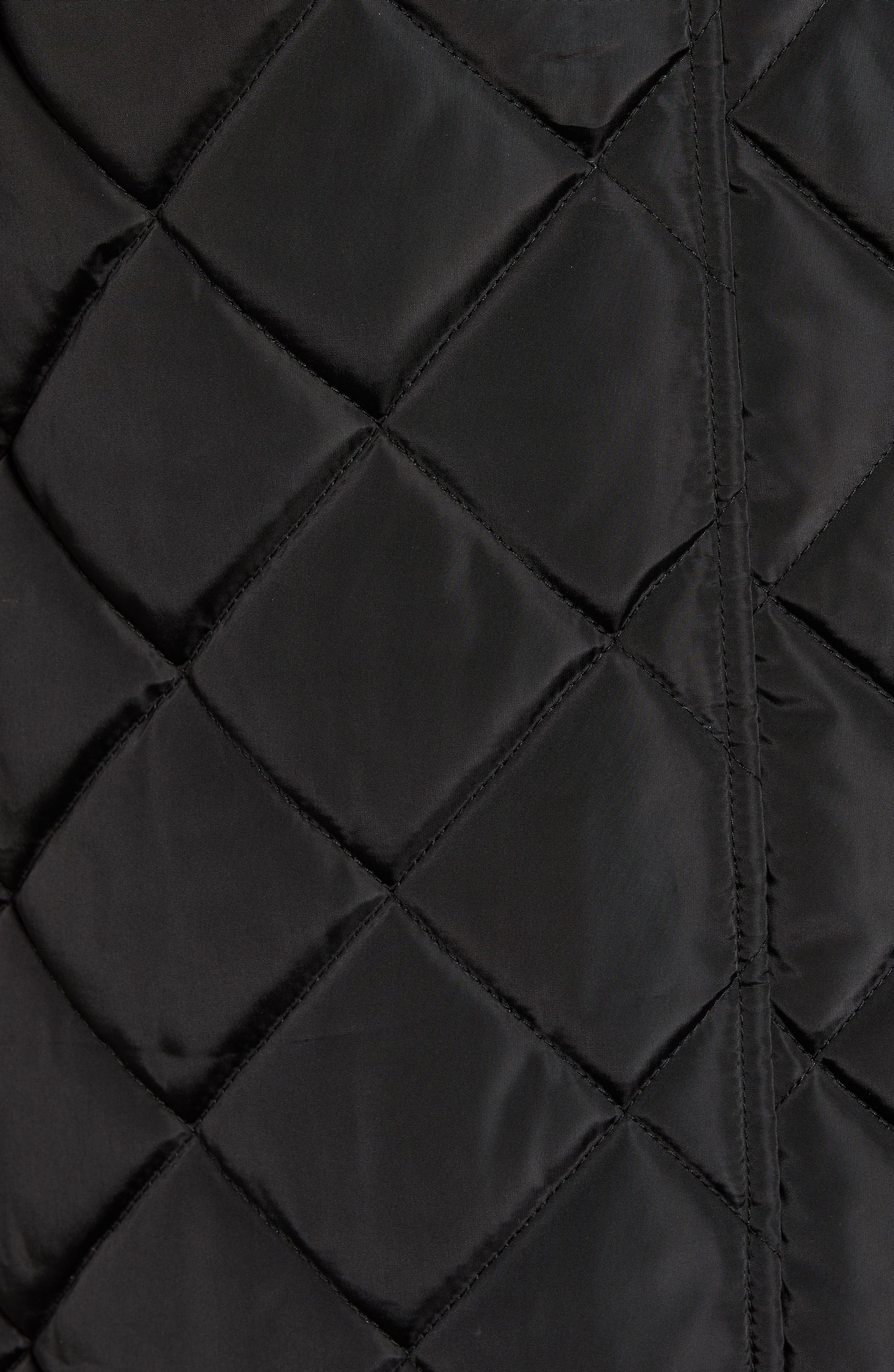 Button Side Quilted Jacket,                             Alternate thumbnail 7, color,                             BLACK