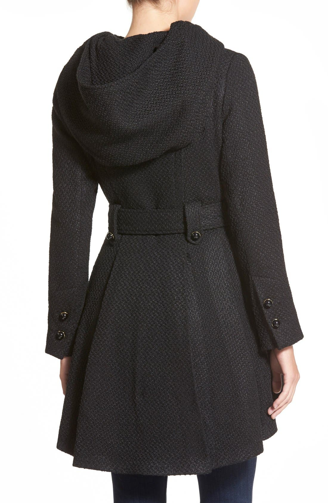 Belted Hooded Skirted Coat,                             Alternate thumbnail 12, color,