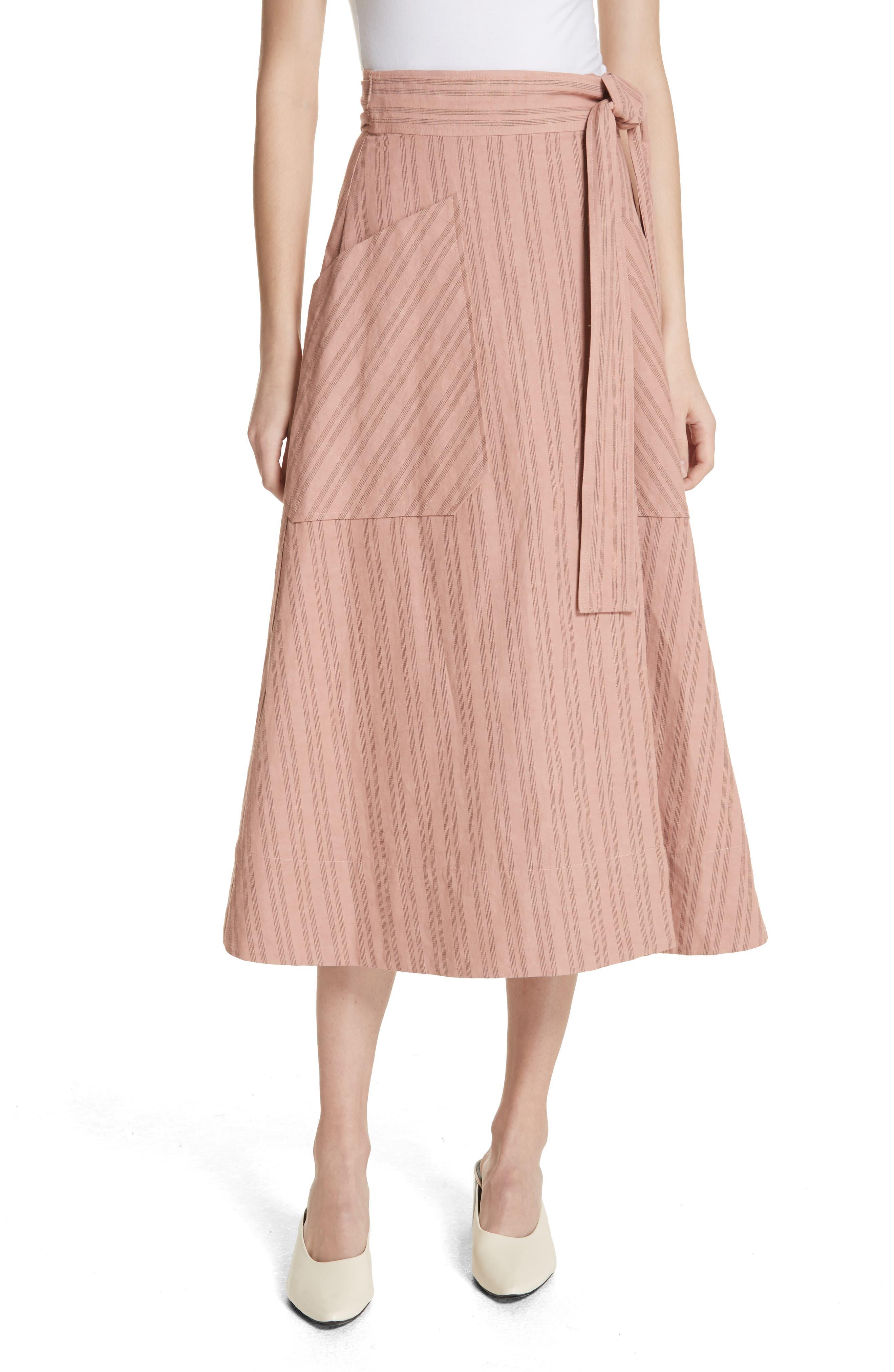 Stripe Wrap Midi Skirt,                             Main thumbnail 1, color,                             671