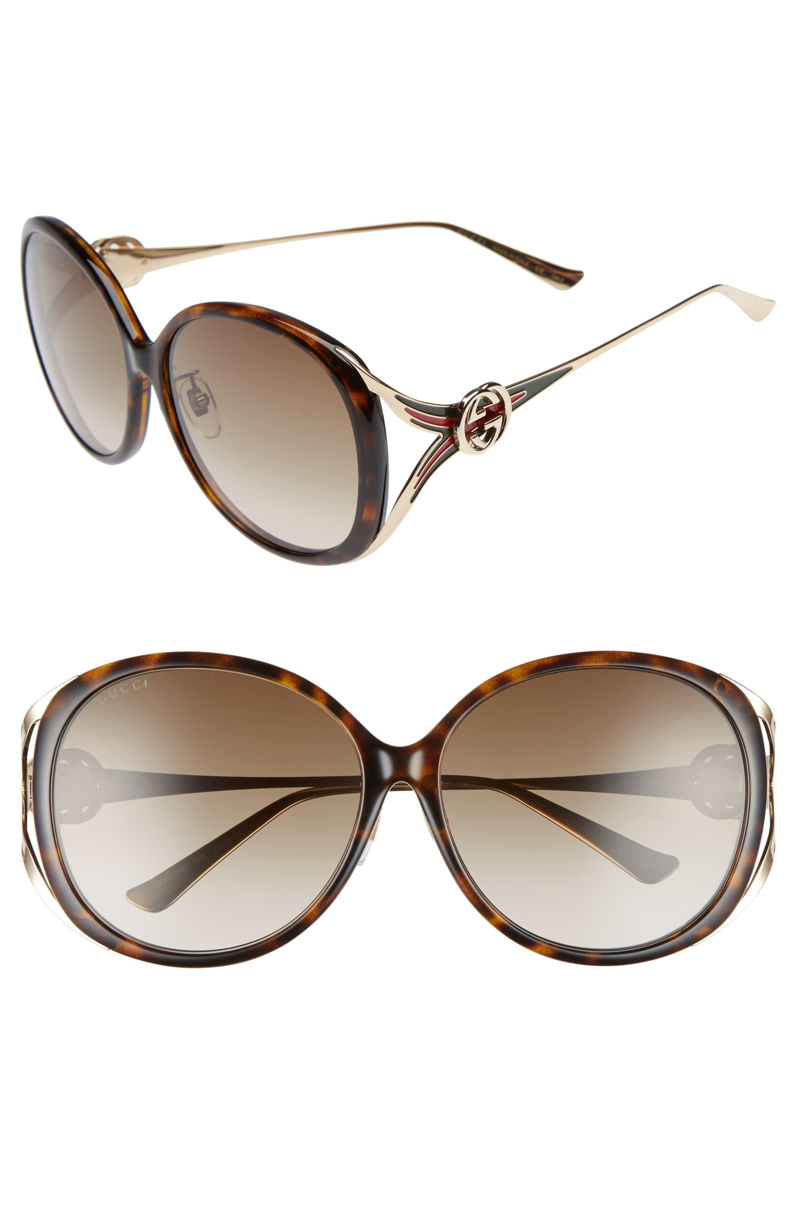 60mm Round Sunglasses,                             Main thumbnail 1, color,                             HAVANA