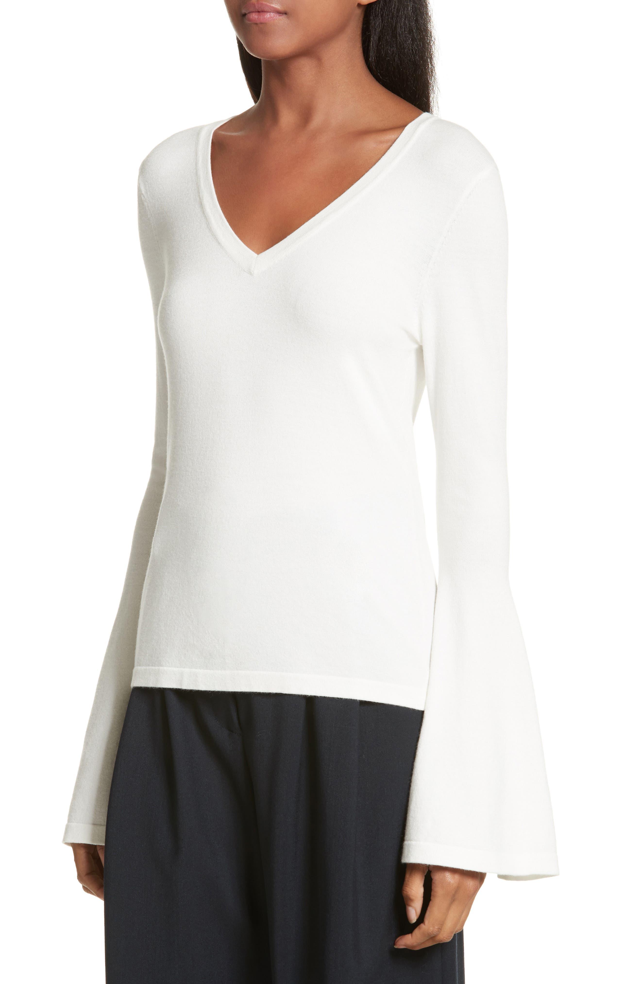 Bell Sleeve V-Neck Sweater,                             Alternate thumbnail 15, color,