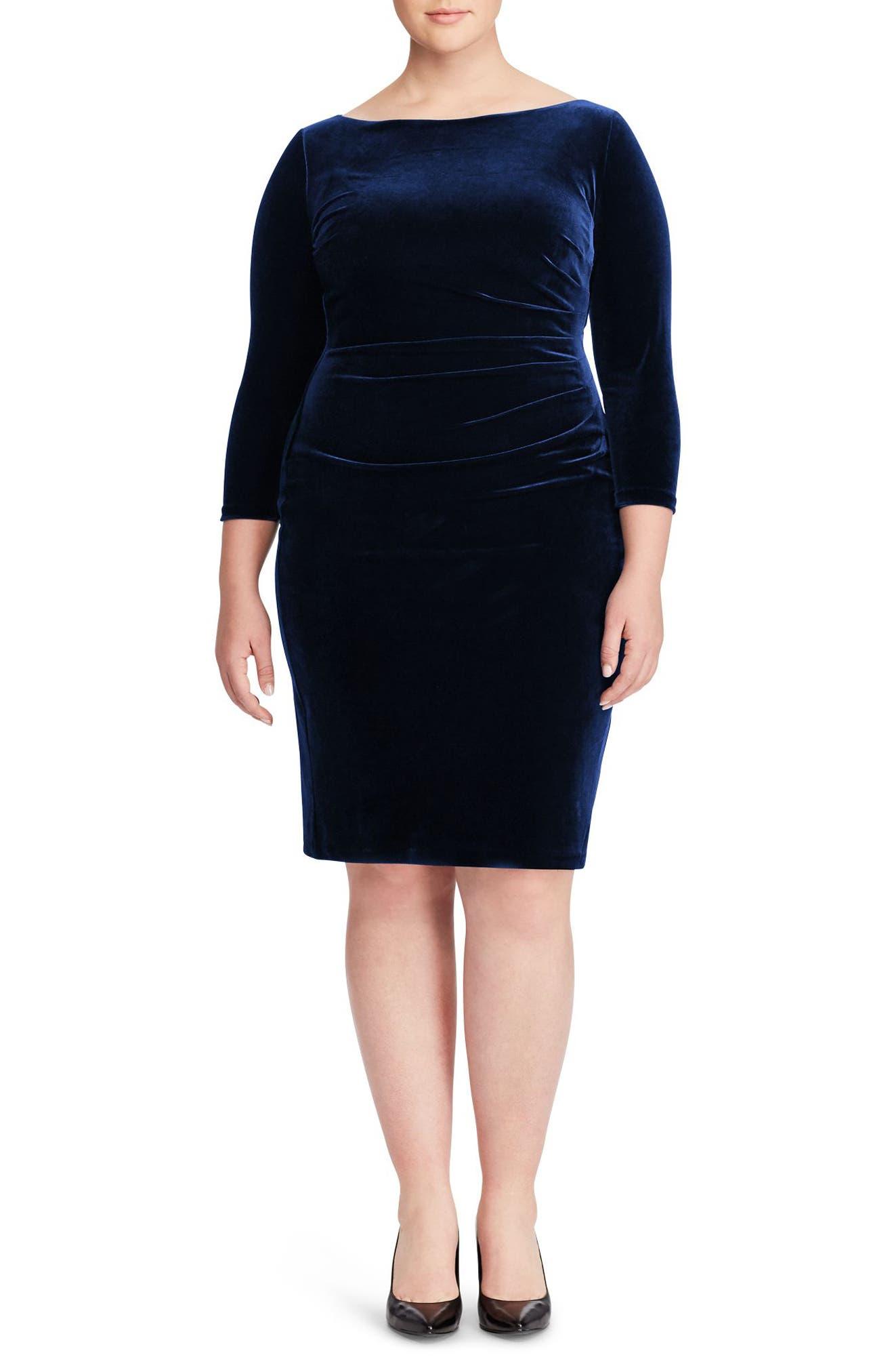 Stretch Velvet Sheath Dress,                         Main,                         color, 410