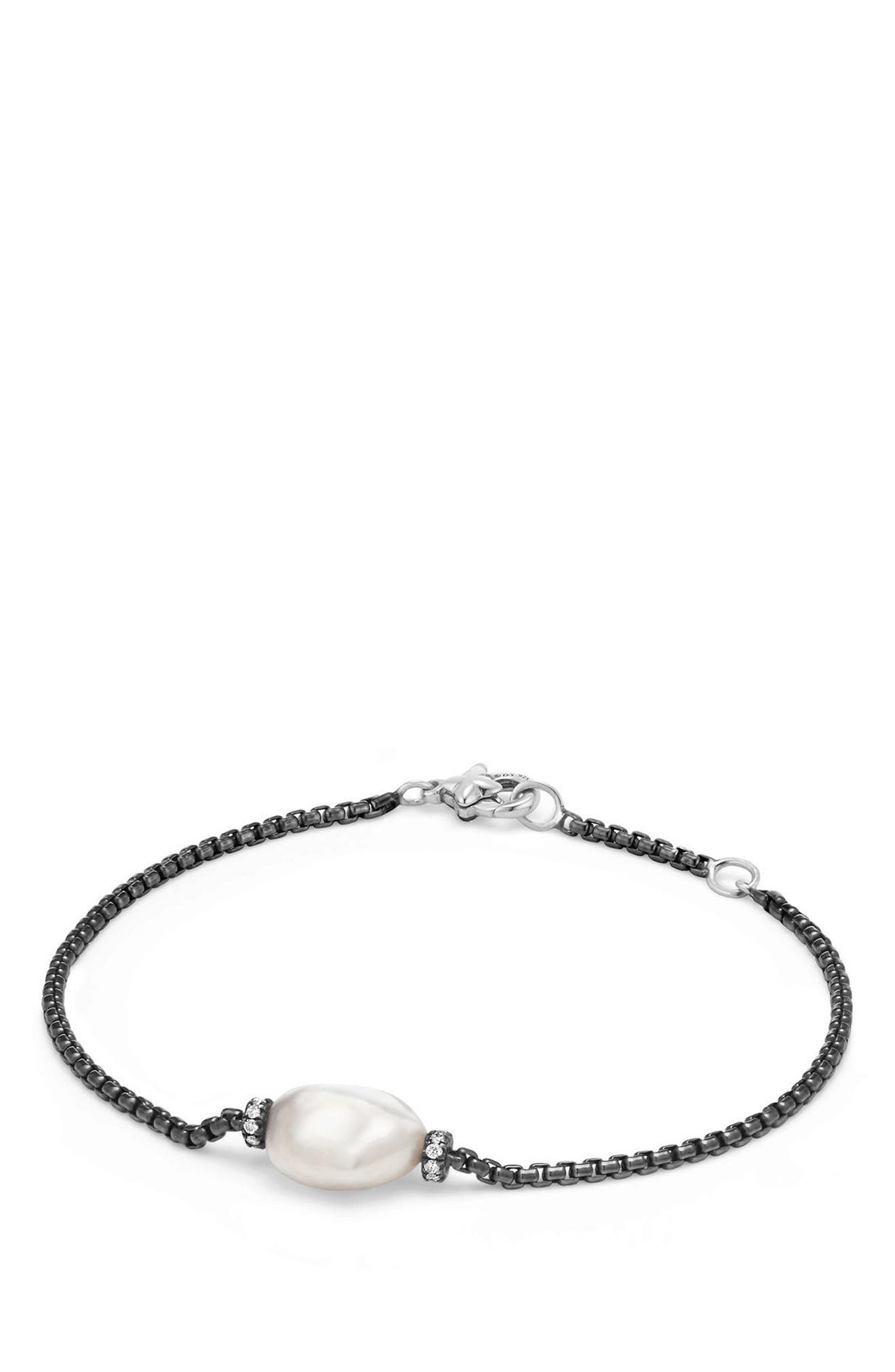 Solari Station Bracelet with Diamonds and Pearl,                             Main thumbnail 1, color,                             SILVER/ PEARL