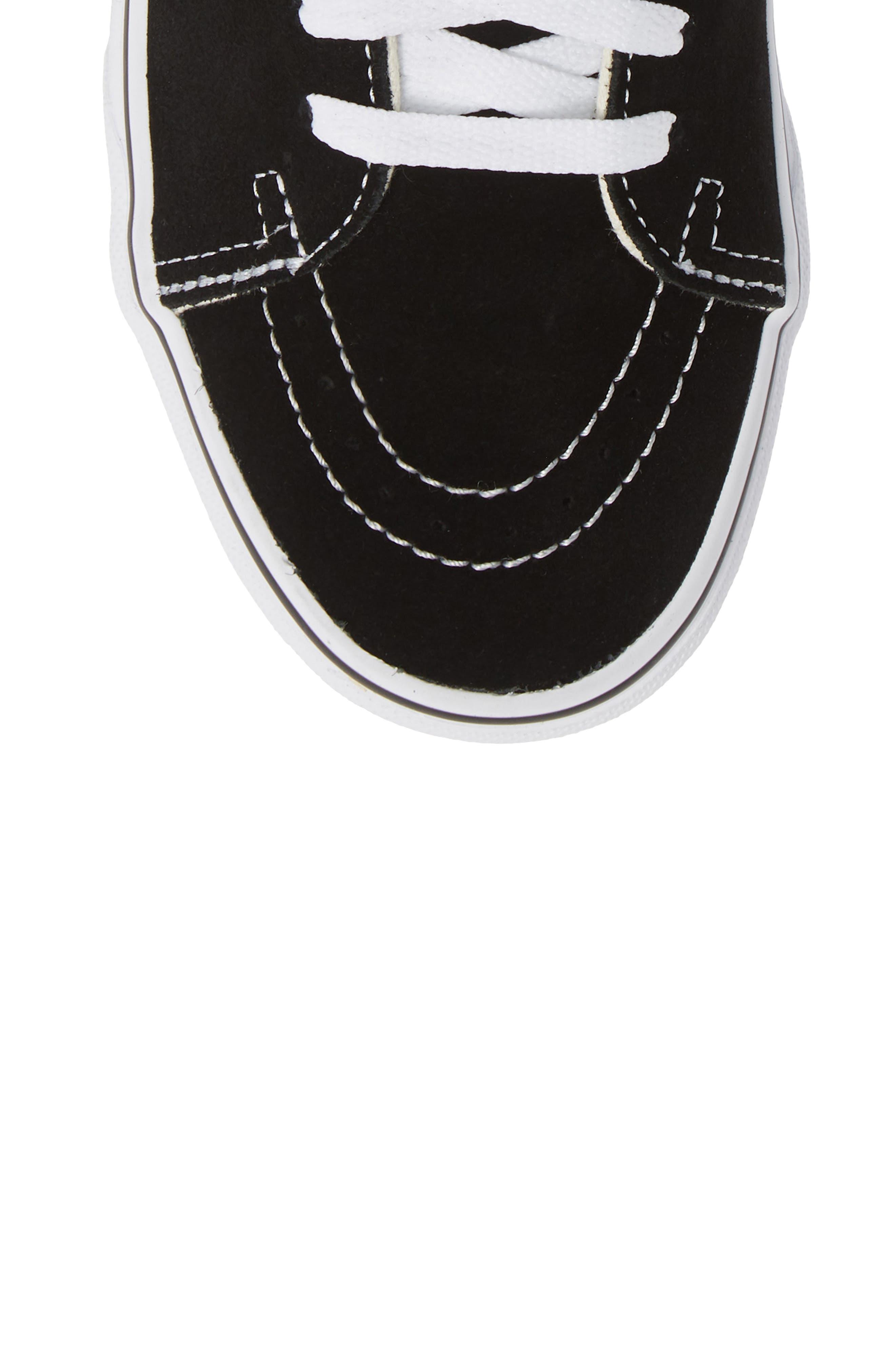 Sk8-Hi Patch High Top Sneaker,                             Alternate thumbnail 5, color,                             BLACK/ TRUE WHITE
