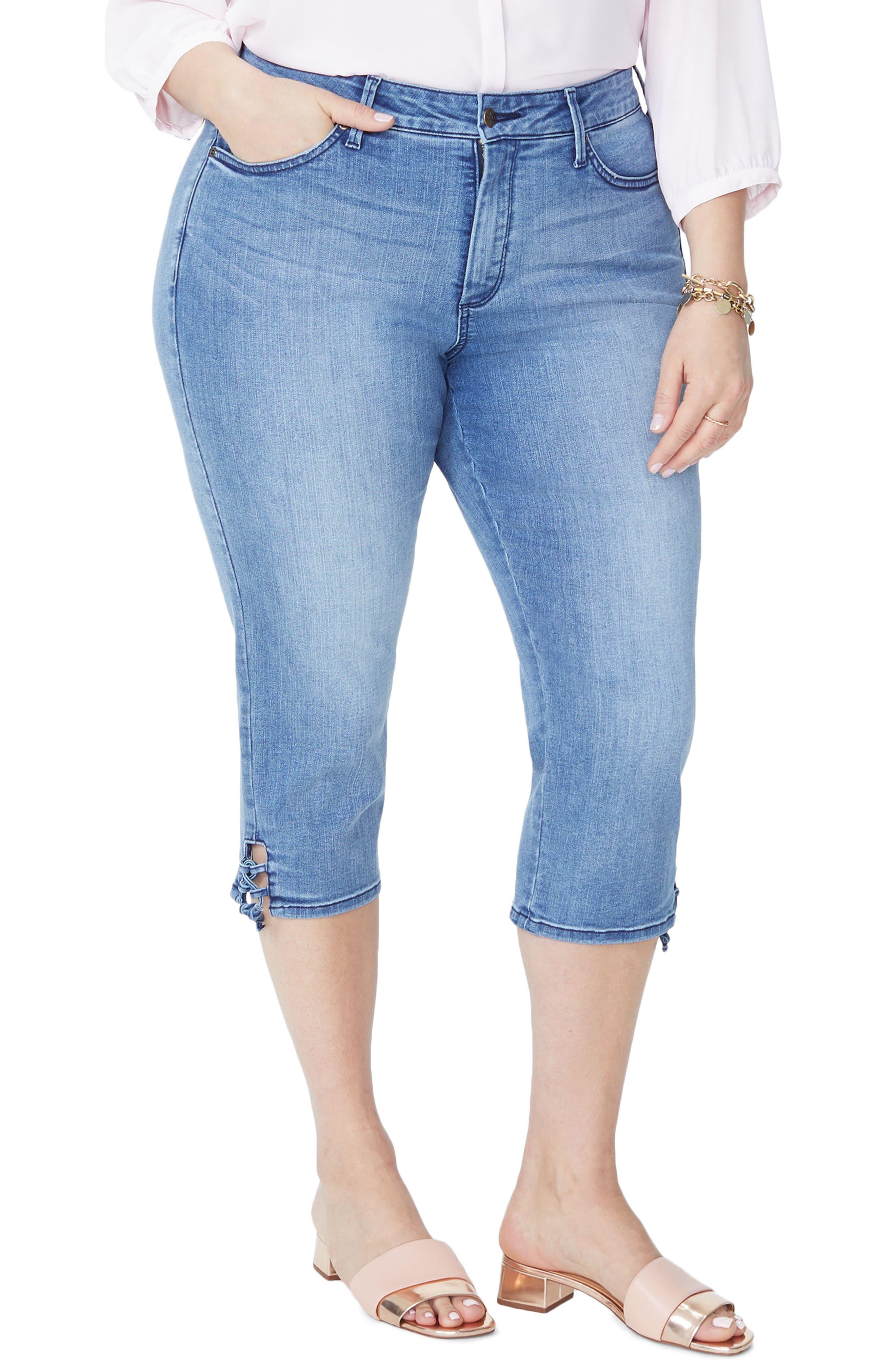 Plus Size Nydj High Rise Lace Up Hem Capri Jeans, Blue