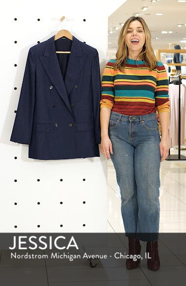 Pale Stripe Double Breasted Wool Jacket, sales video thumbnail