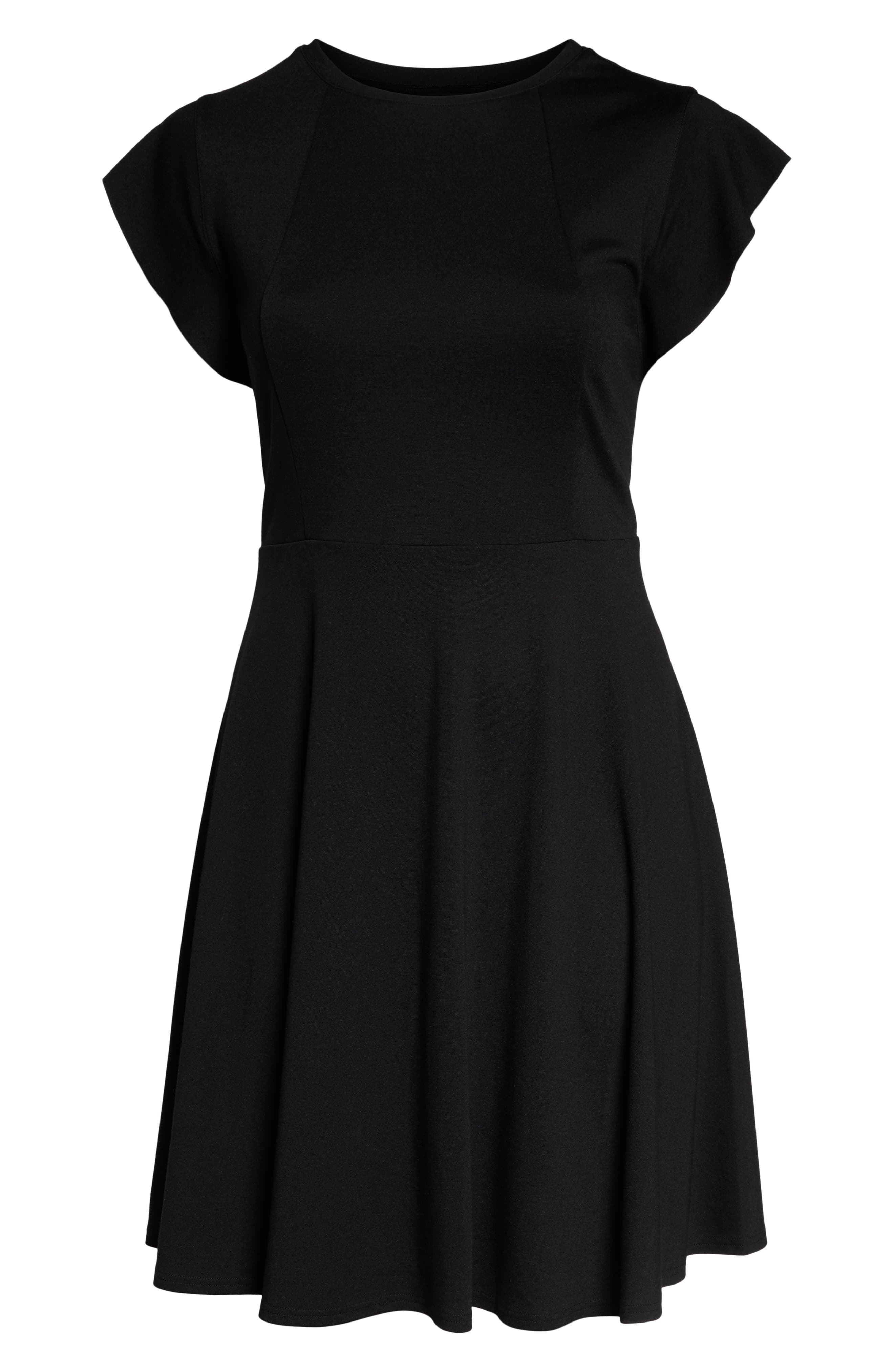 CITY CHIC,                             Frill Sleeve Fit & Flare Dress,                             Alternate thumbnail 4, color,                             BLACK