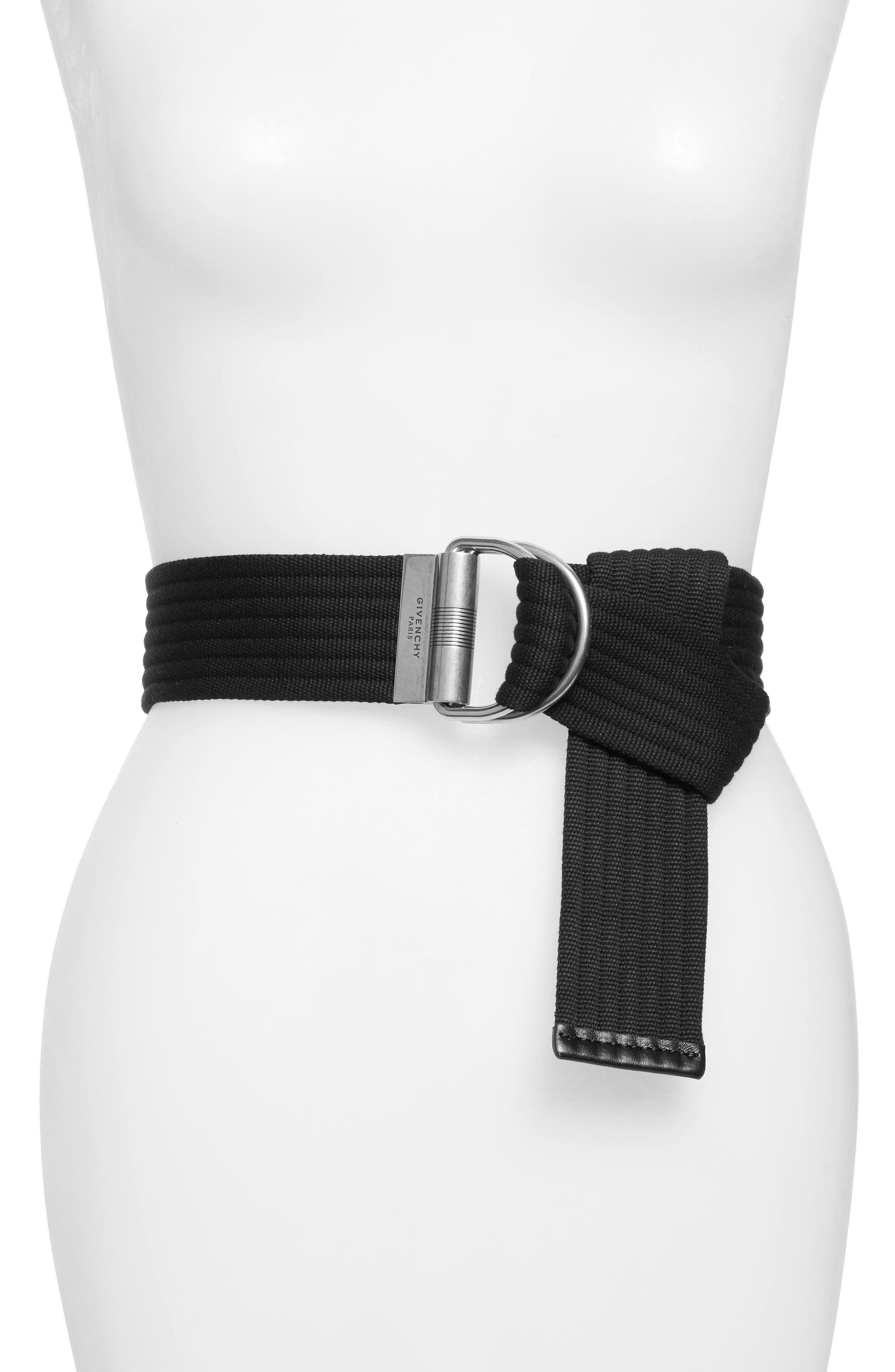 GIVENCHY Web Belt, Main, color, BLACK