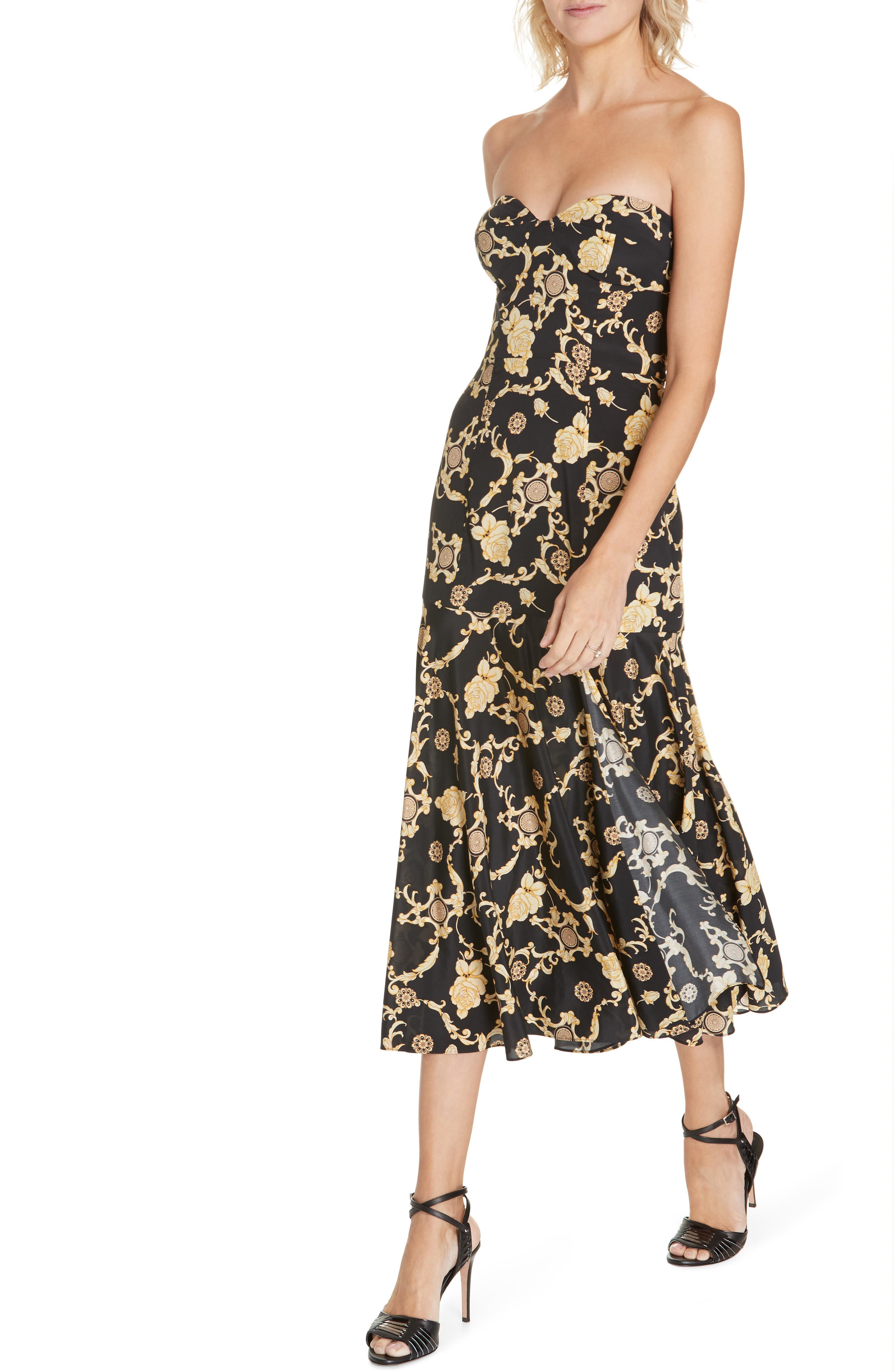 Annika Floral Print Strapless Stretch Silk Dress,                             Alternate thumbnail 4, color,                             BLACK/ GOLD