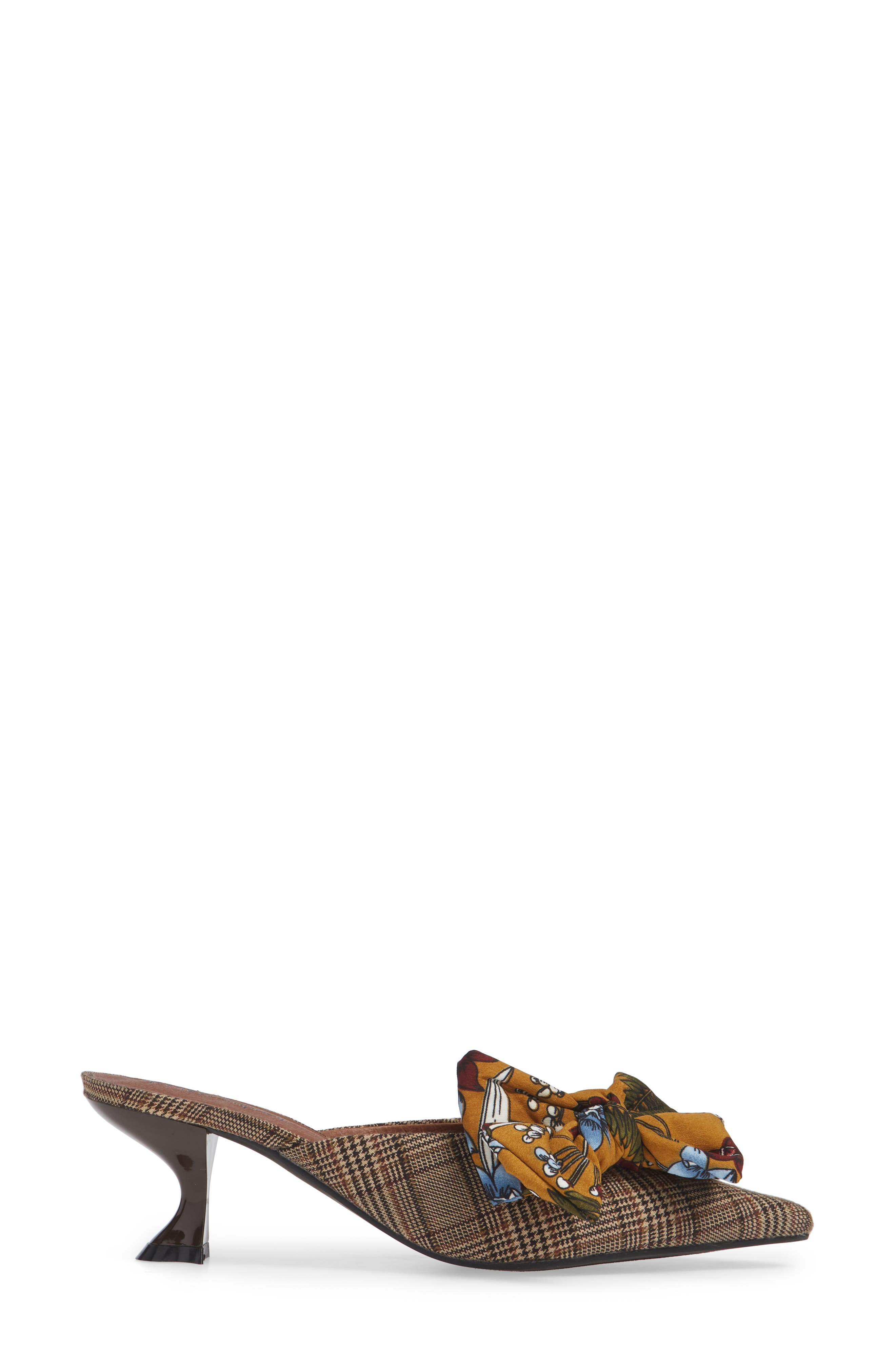 Adorn Pointy Toe Mule,                             Alternate thumbnail 3, color,                             MUSTARD/ NAVY FLORAL MULTI