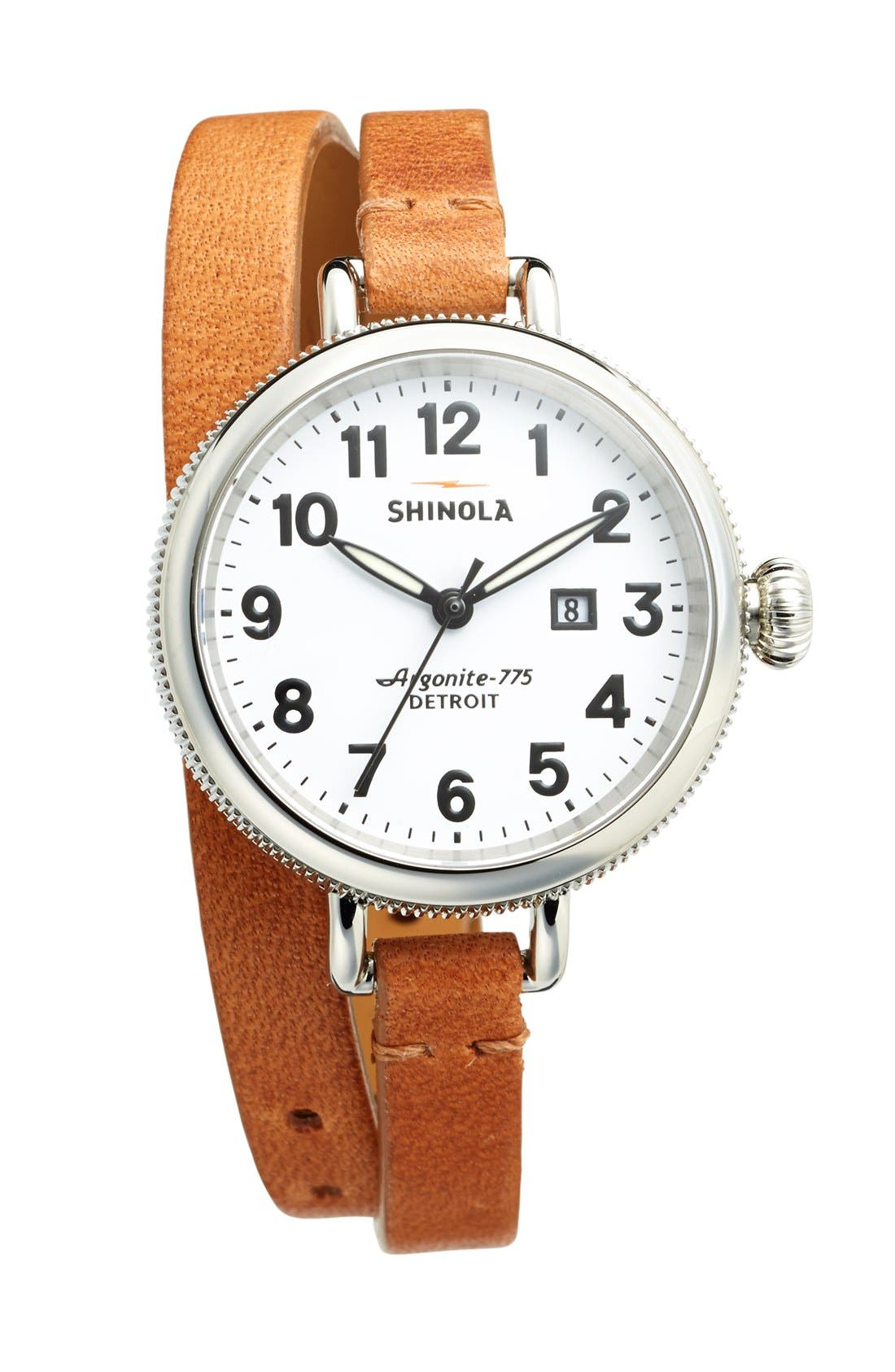 'The Birdy' Double Wrap Leather Strap Watch, 34mm,                             Alternate thumbnail 5, color,                             NATURAL/ WHITE