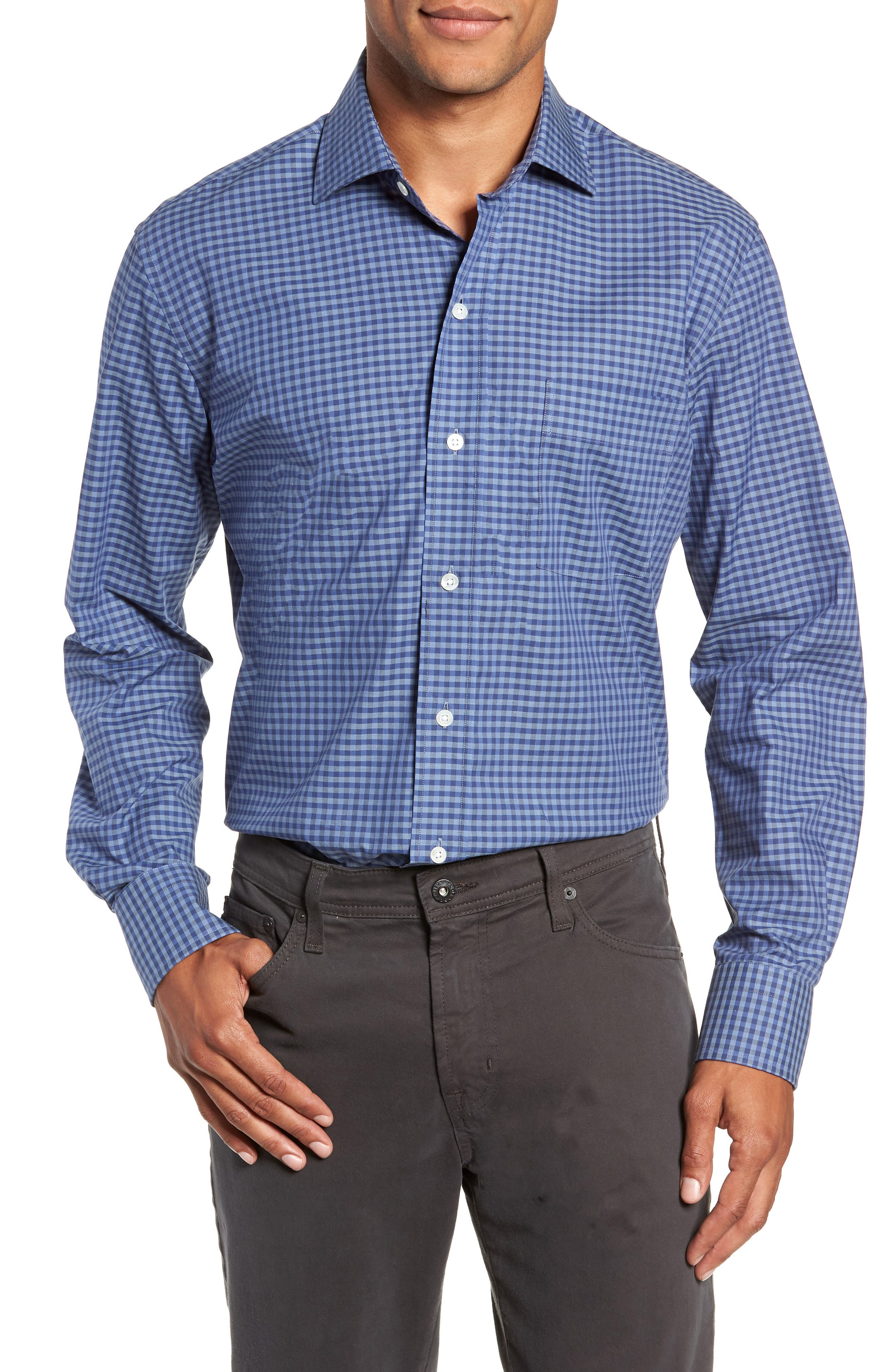LEDBURY Fairlee Gingham Slim Fit Dress Shirt in Dark Blue