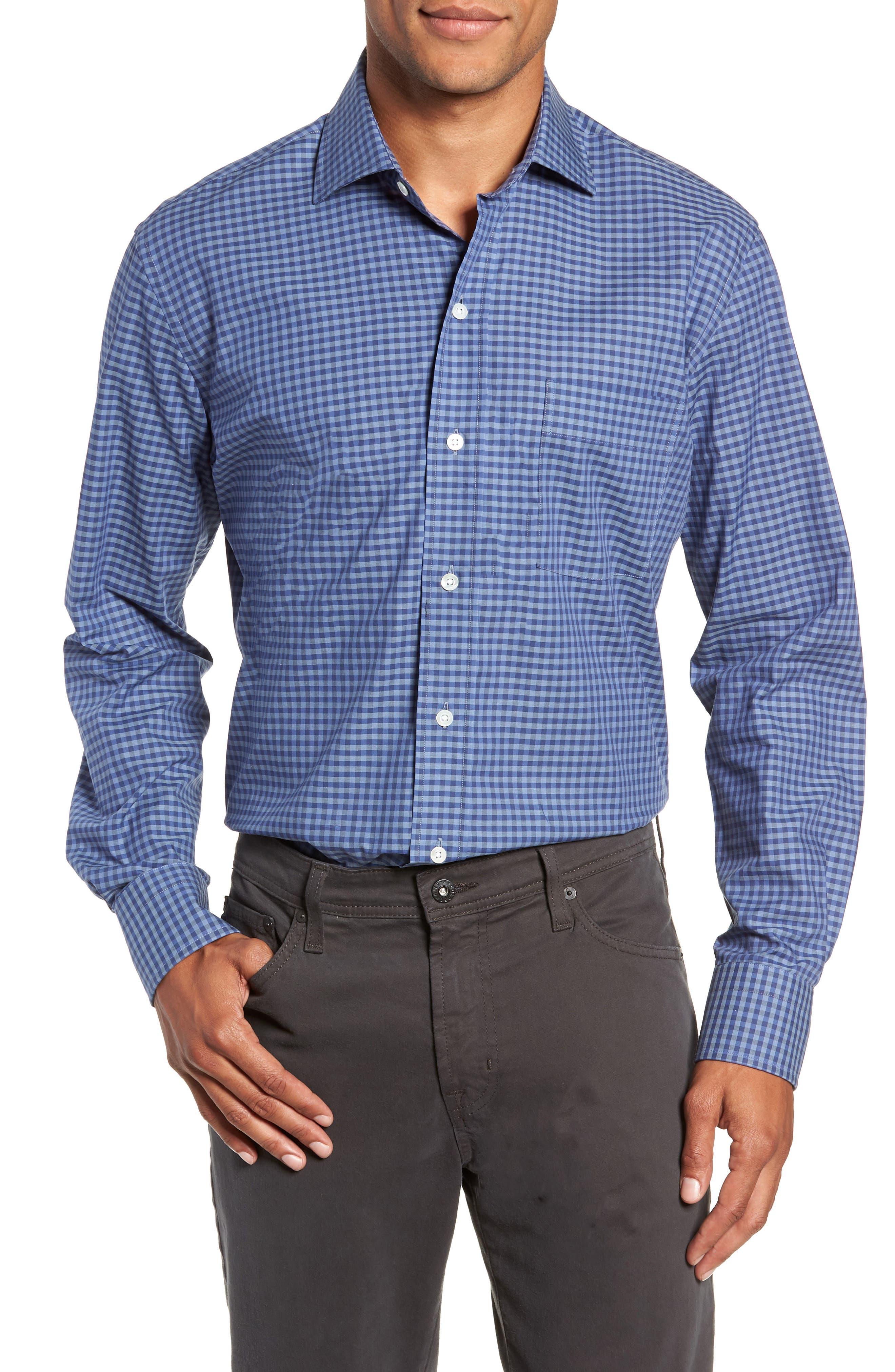 Fairlee Gingham Slim Fit Dress Shirt in Dark Blue