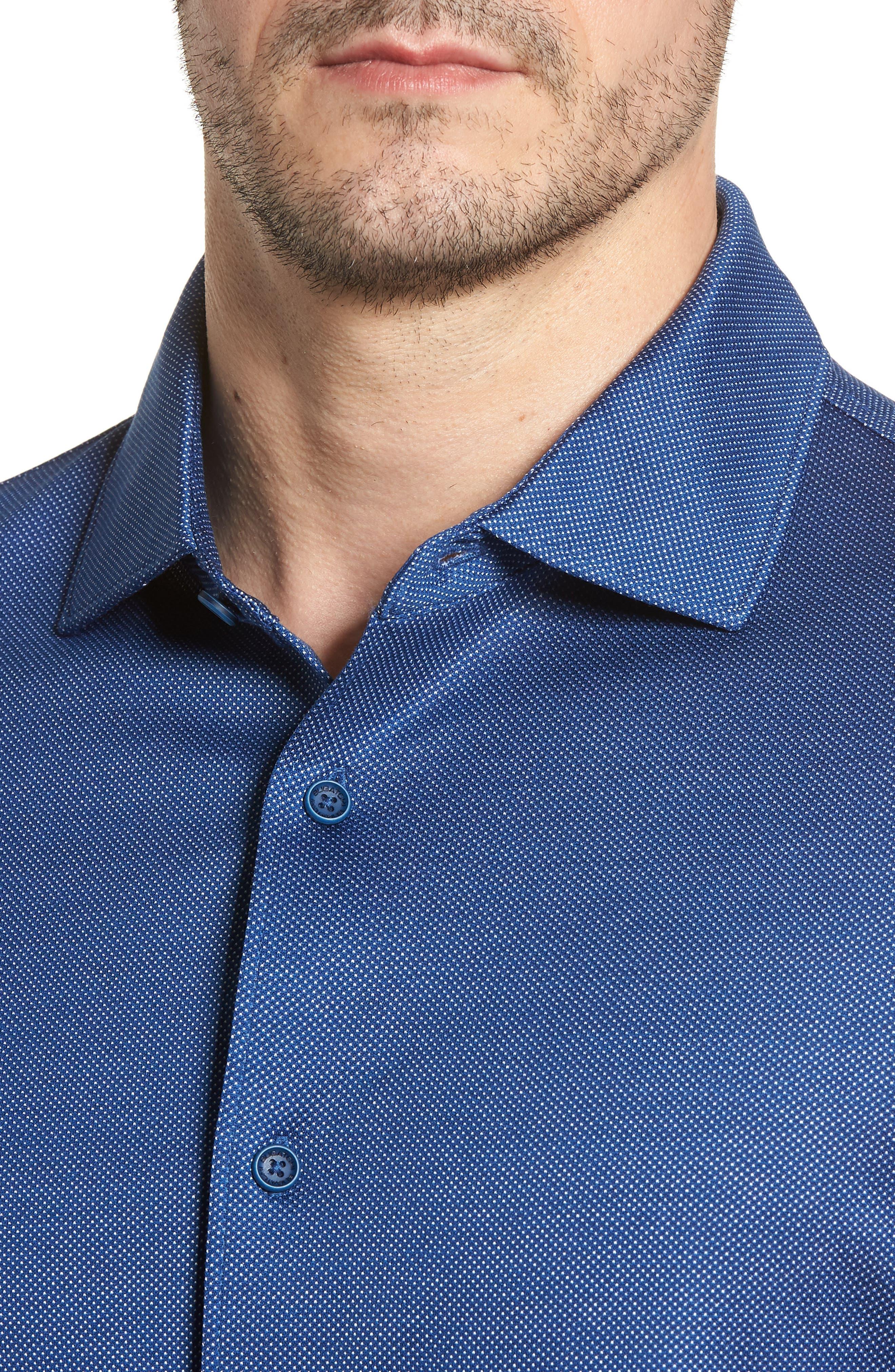 Regular Fit Microdot Print Knit Sport Shirt,                             Alternate thumbnail 4, color,                             411