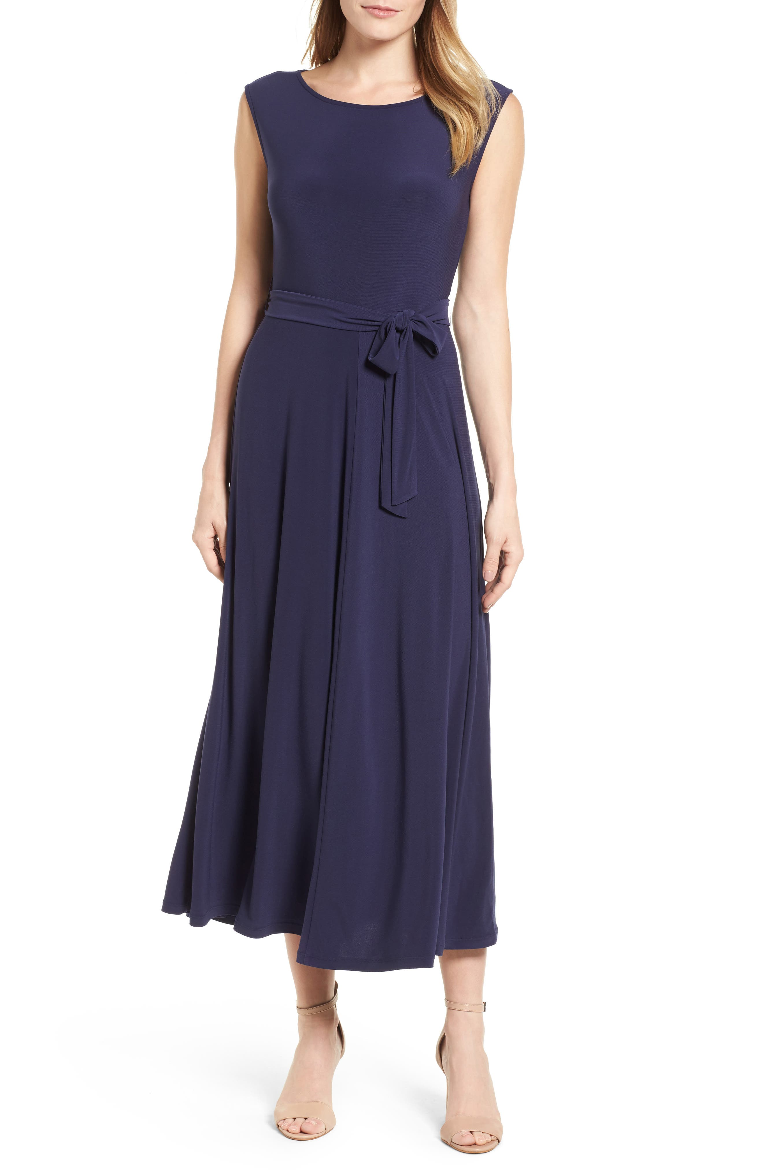 Cap Sleeve Tie Waist Maxi Dress,                             Main thumbnail 1, color,                             400