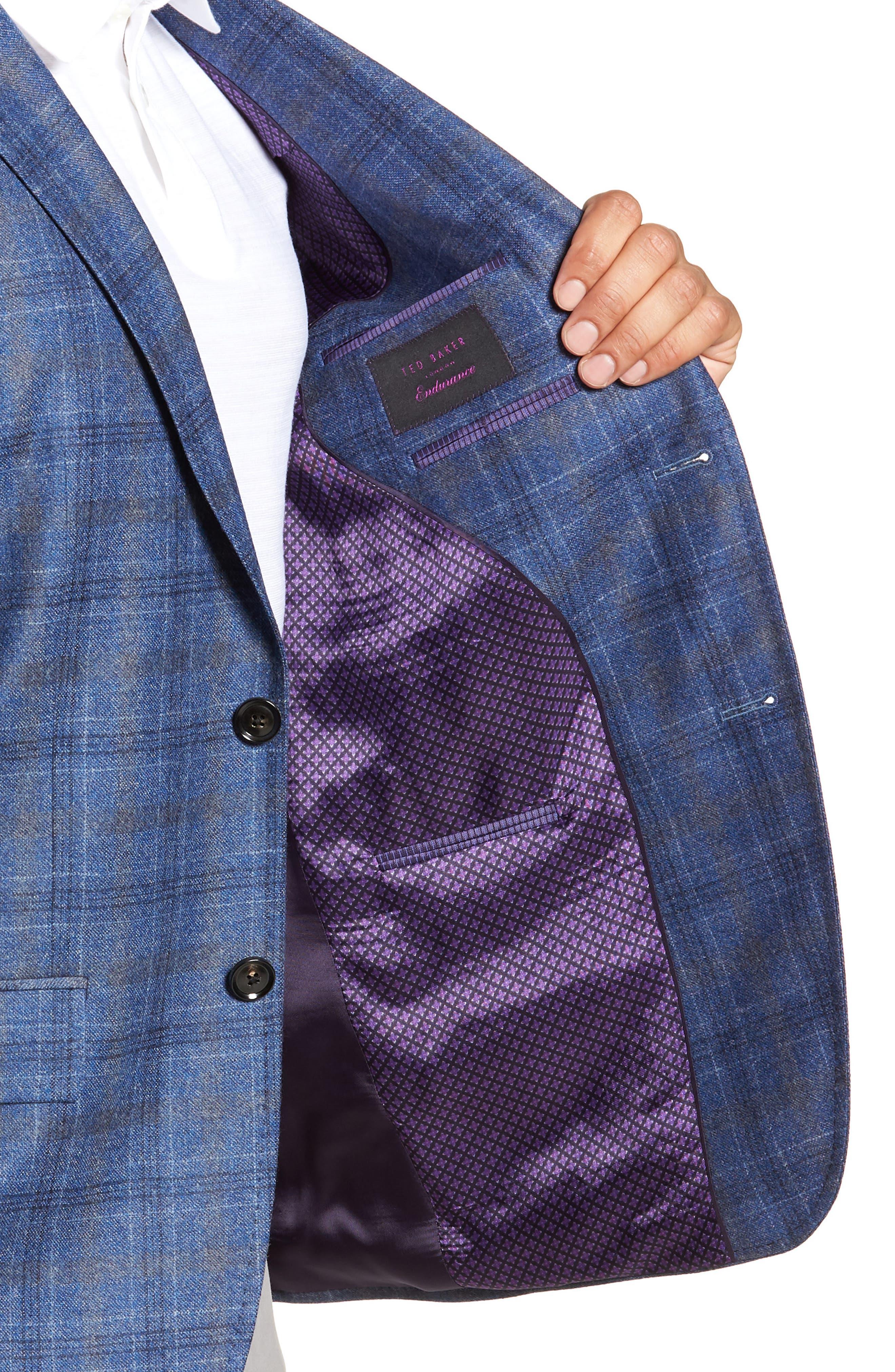 Konan Trim Fit Plaid Wool Sport Coat,                             Alternate thumbnail 4, color,                             BLUE