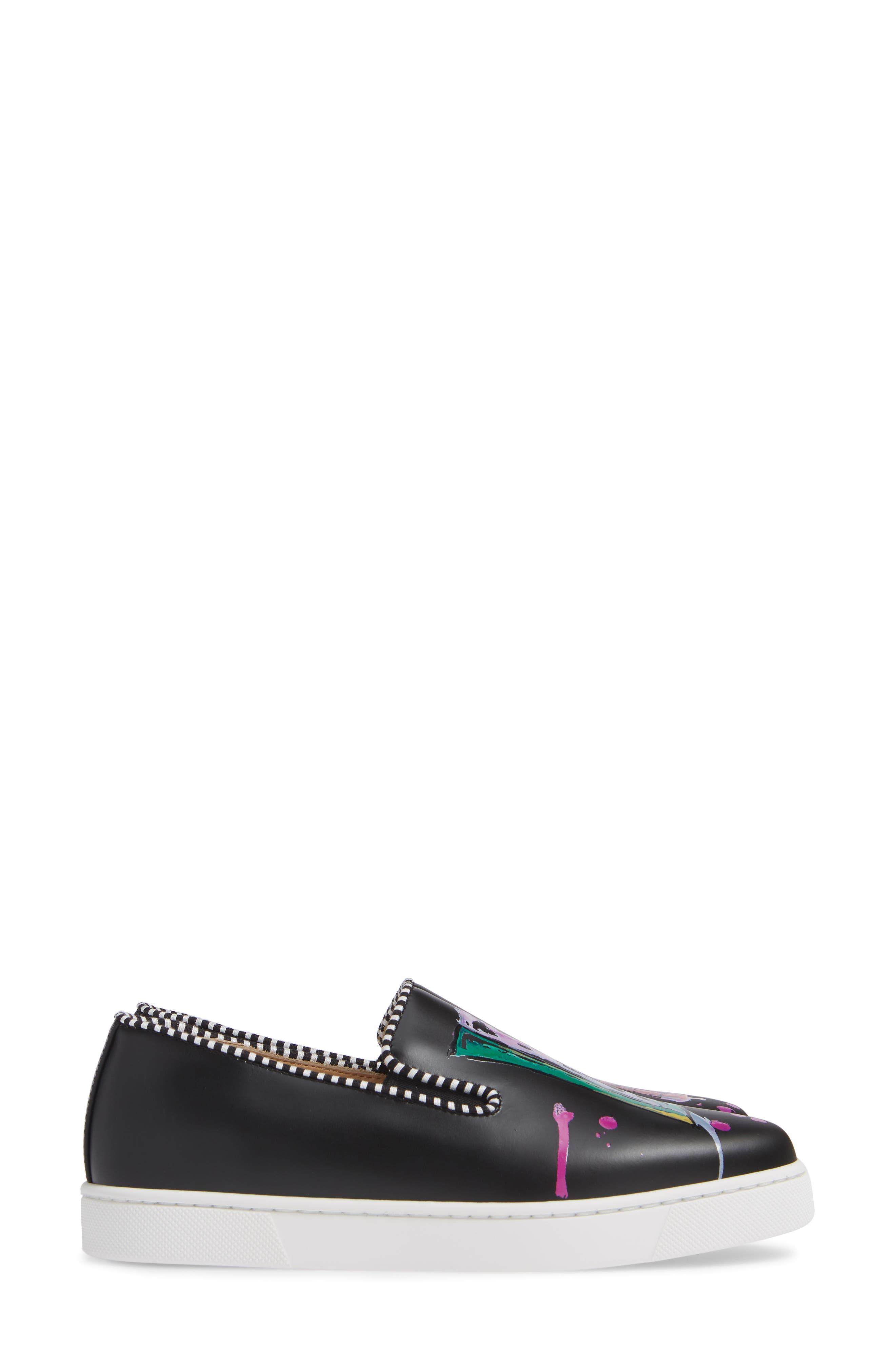 Loubi Love Slip-On Sneaker,                             Alternate thumbnail 4, color,                             BLACK