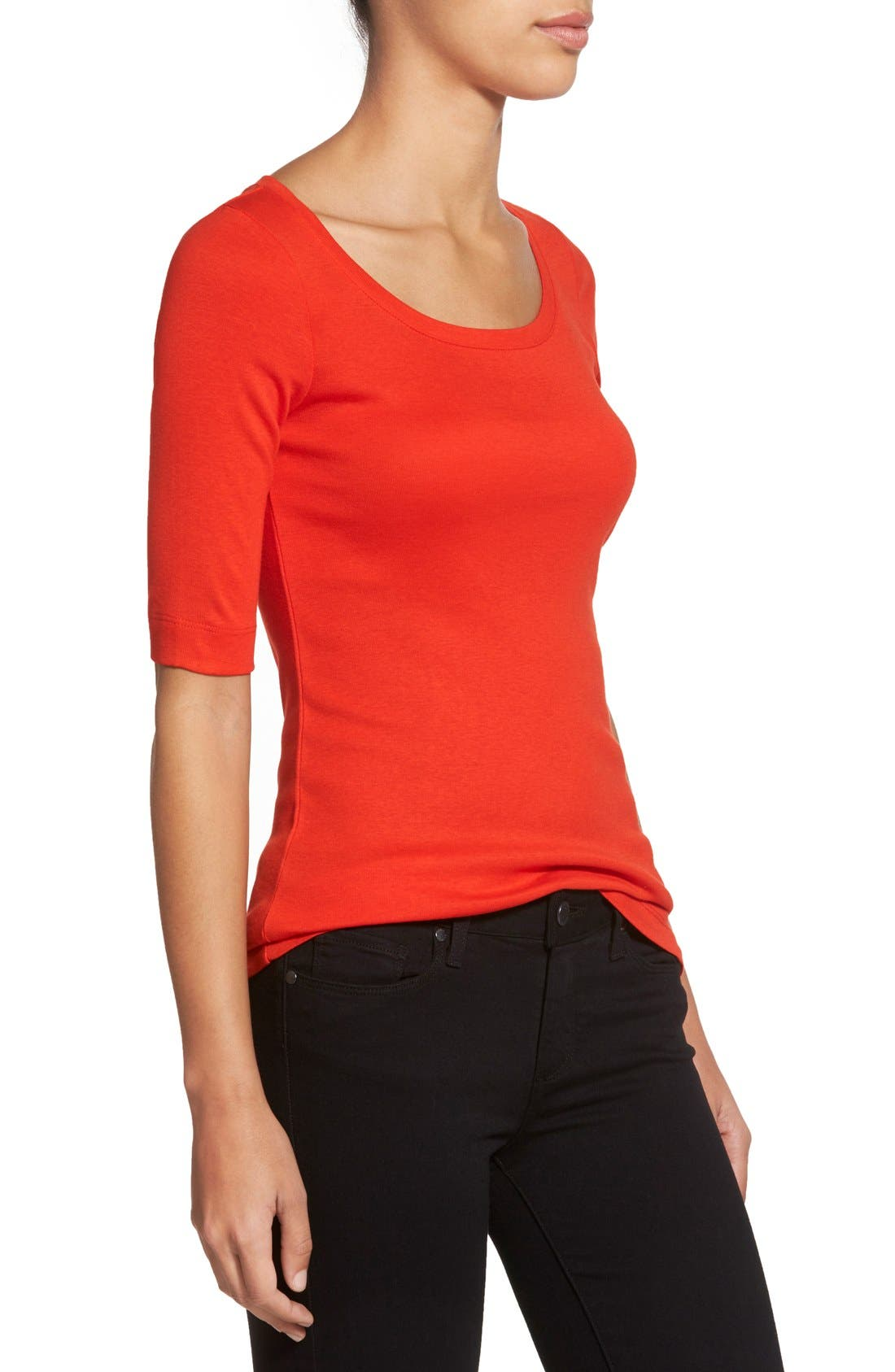 Ballet Neck Cotton & Modal Knit Elbow Sleeve Tee,                             Alternate thumbnail 292, color,