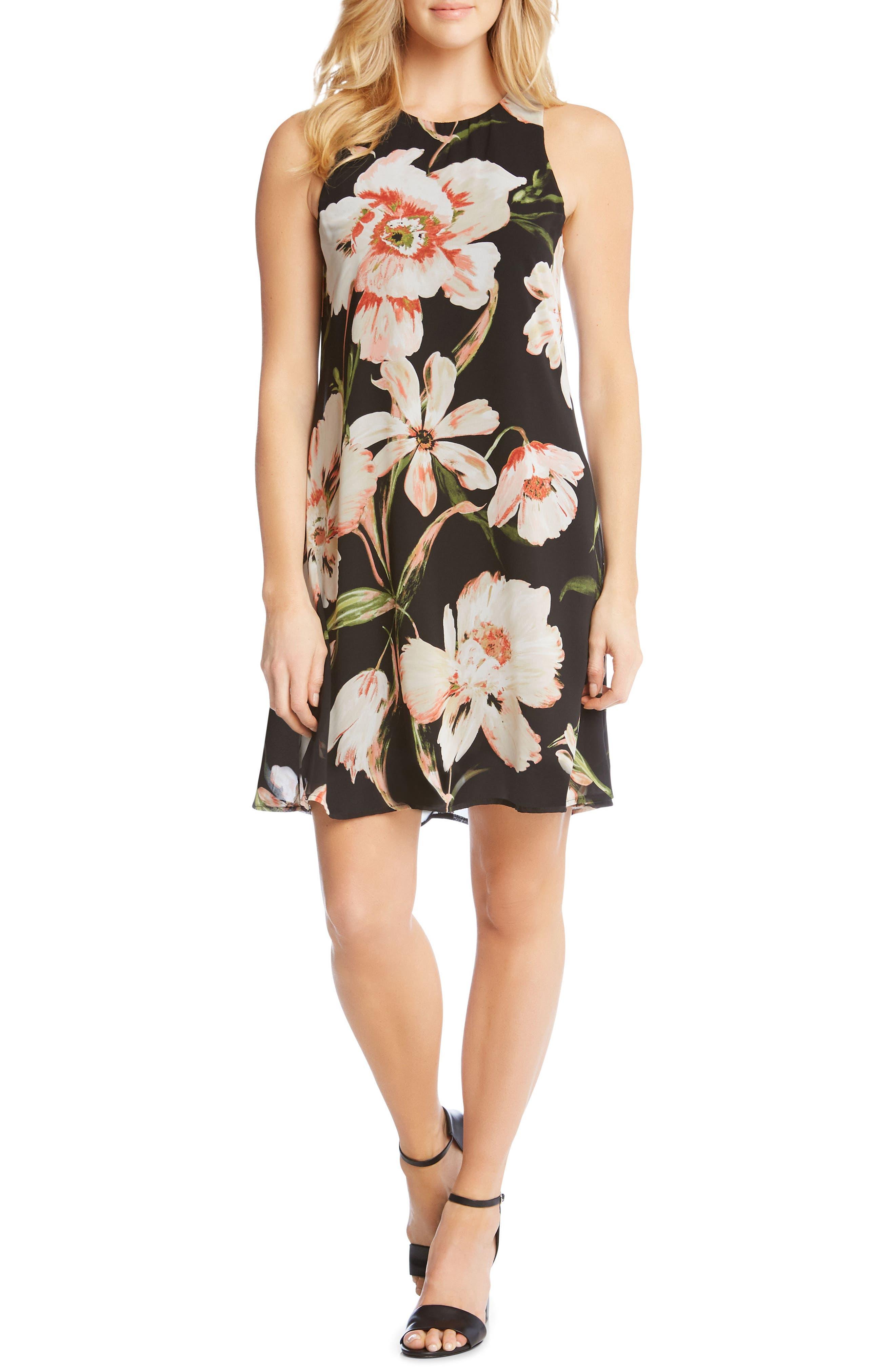 Sheer Floral Overlay Shift Dress,                             Main thumbnail 1, color,                             PRINT