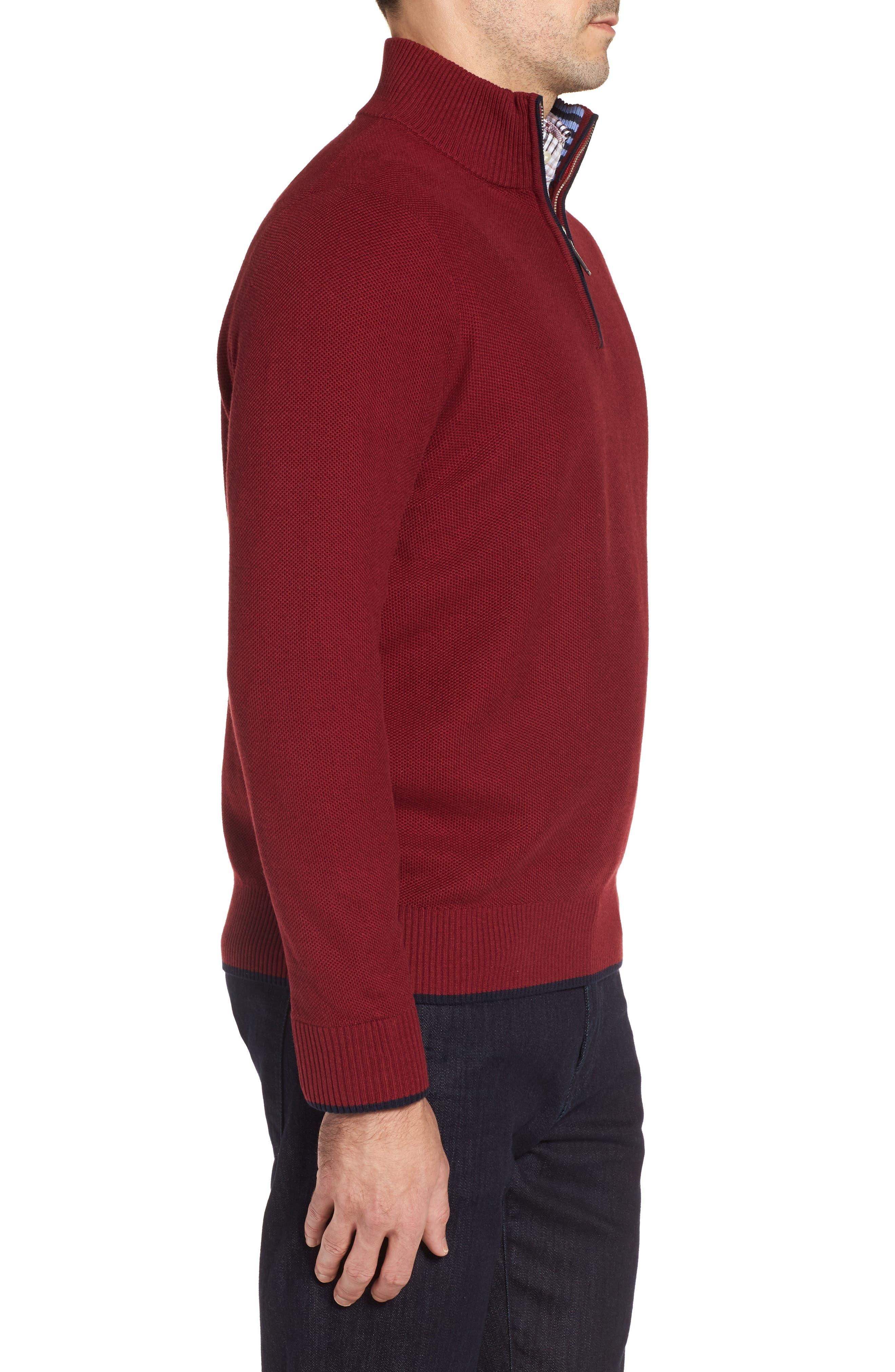 Prien Tipped Quarter Zip Sweater,                             Alternate thumbnail 3, color,                             600
