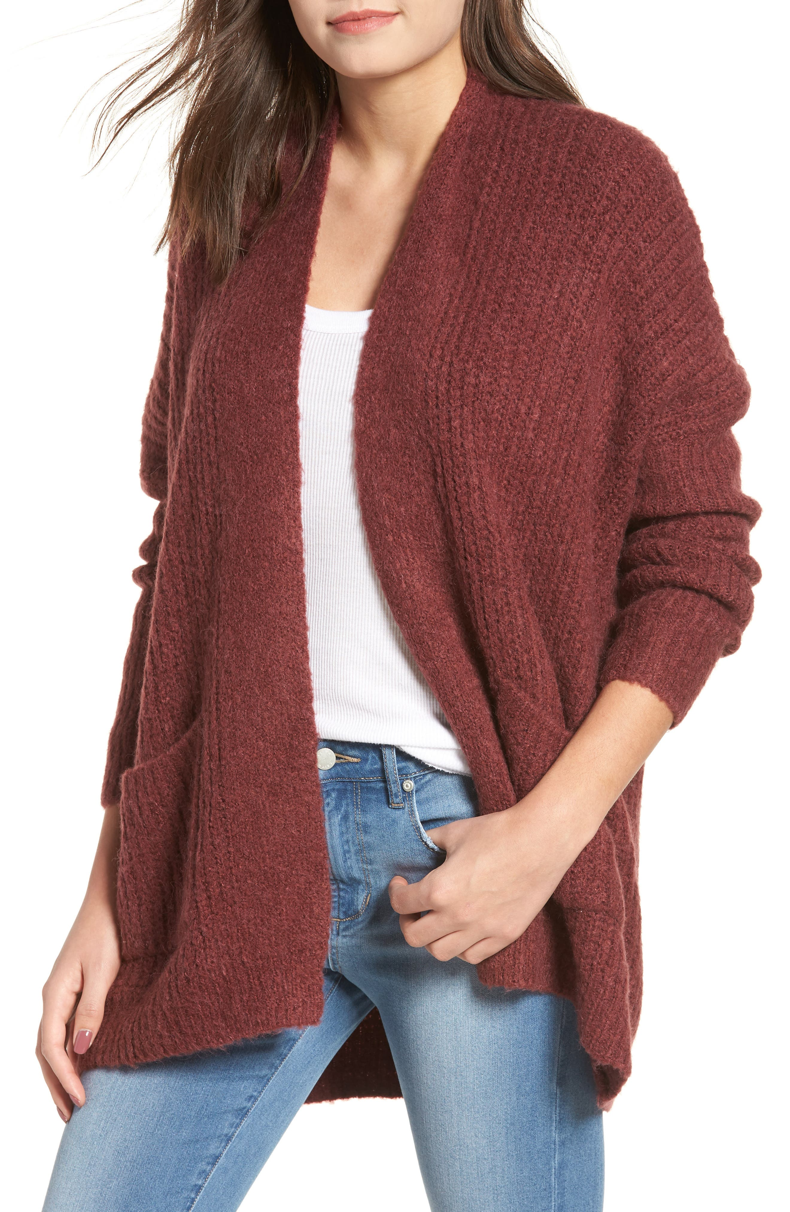 Rib Knit Open Cardigan,                             Main thumbnail 1, color,                             650