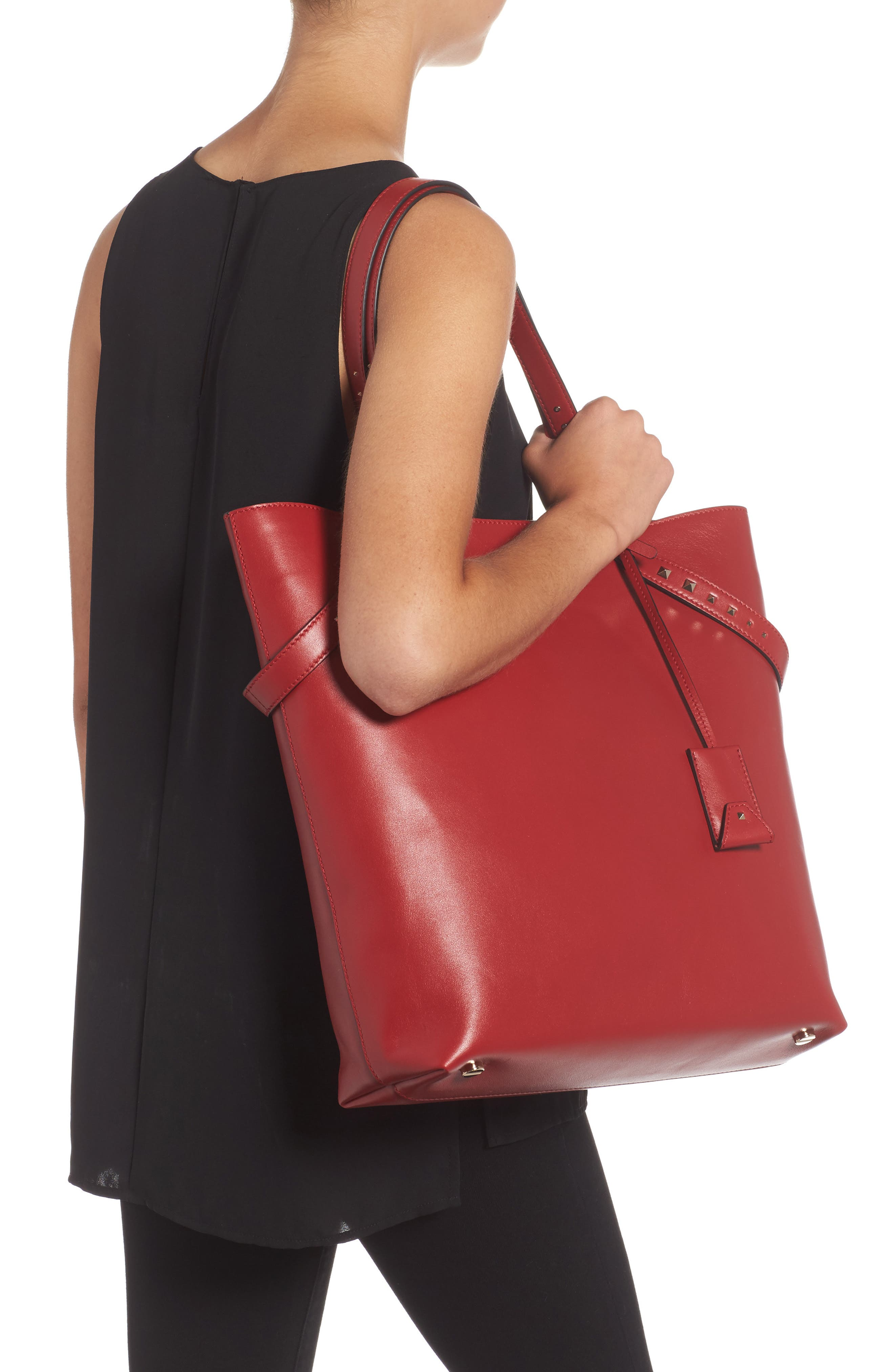 Lovestud Leather Tote,                             Alternate thumbnail 6, color,