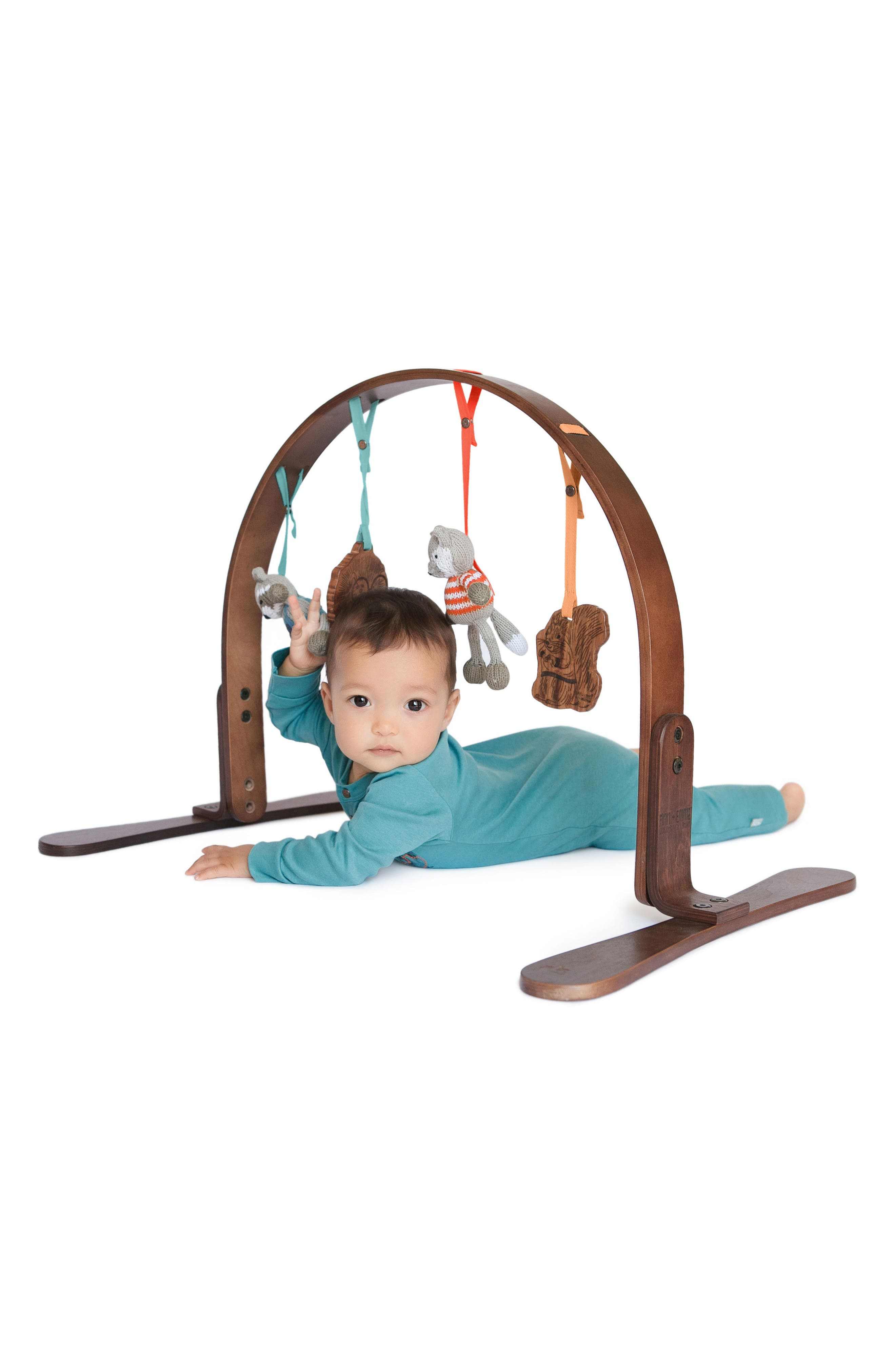 Wooden Play Gym & Woodland Mat,                             Alternate thumbnail 4, color,