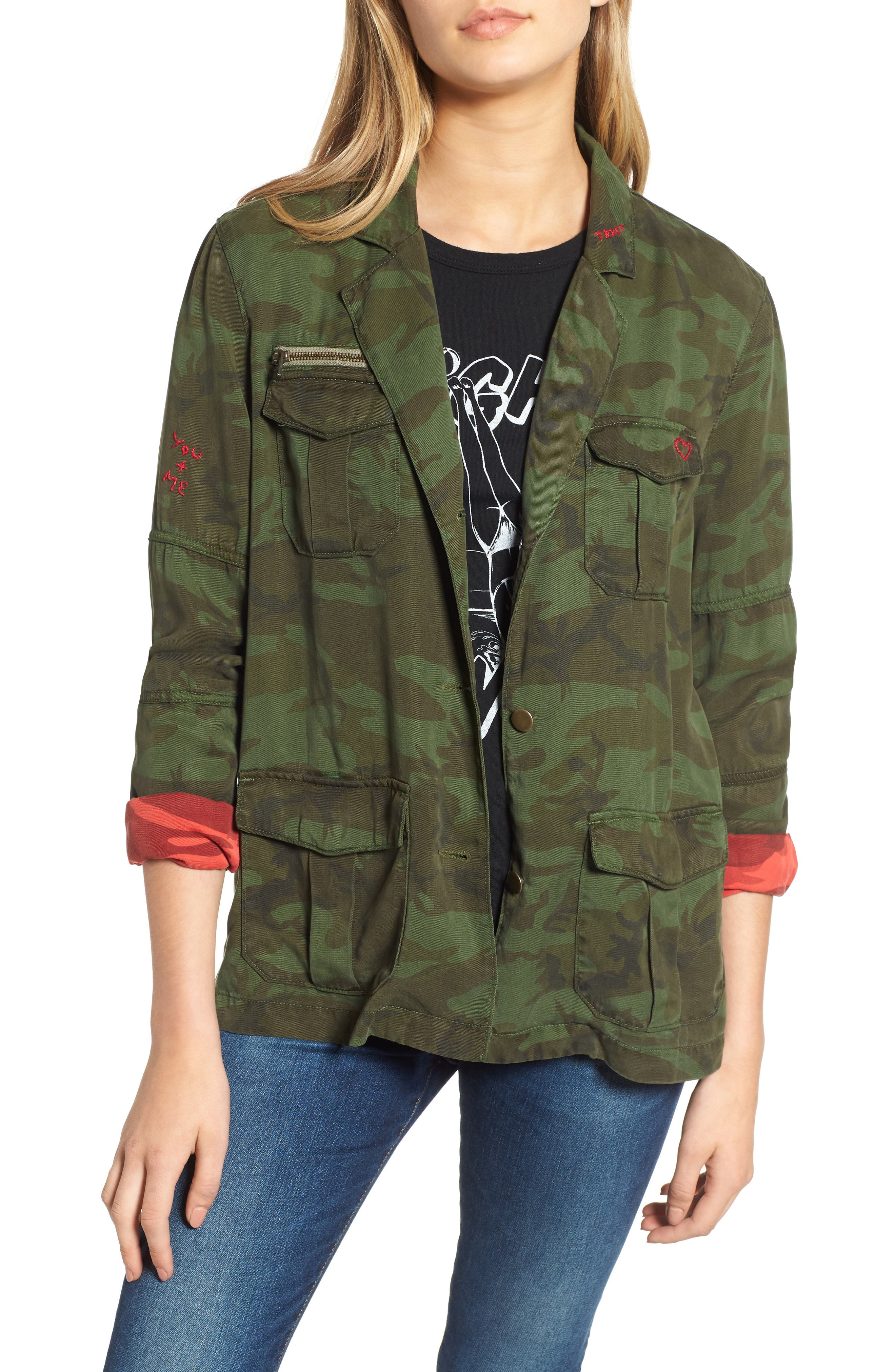 Contrast Cuff Camo Jacket,                             Main thumbnail 1, color,                             ARMY CAMO