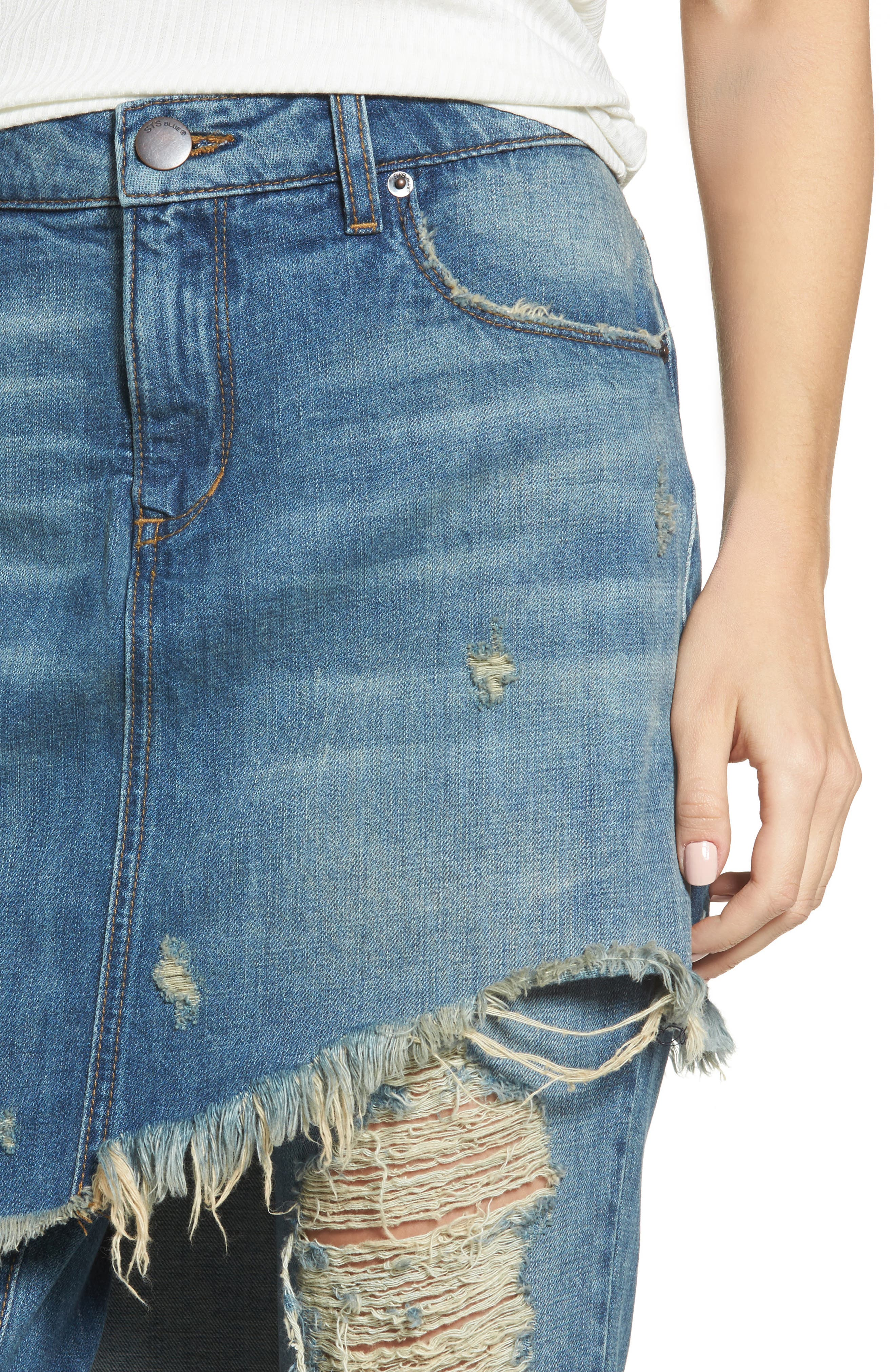 Layered Ripped Skirt Jeans,                             Alternate thumbnail 4, color,                             400