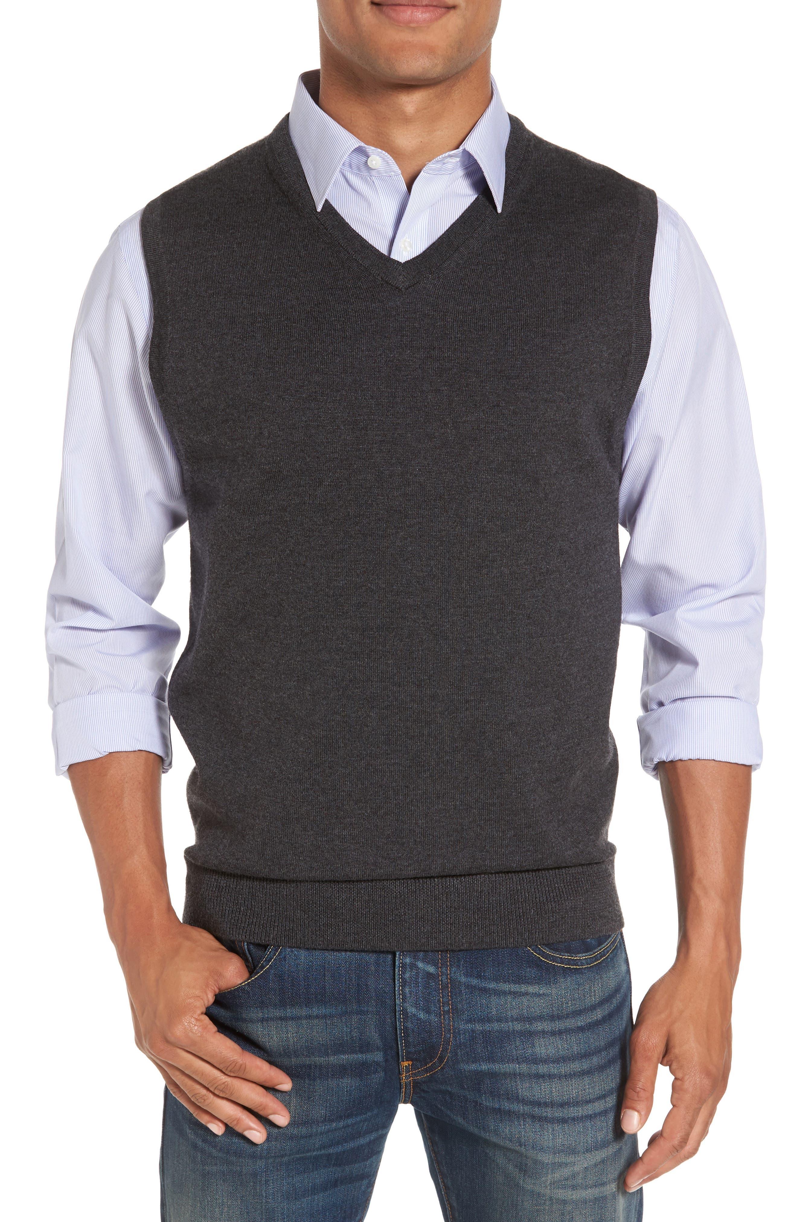 Nordstrom Shop Merino Wool Sweater Vest, Grey