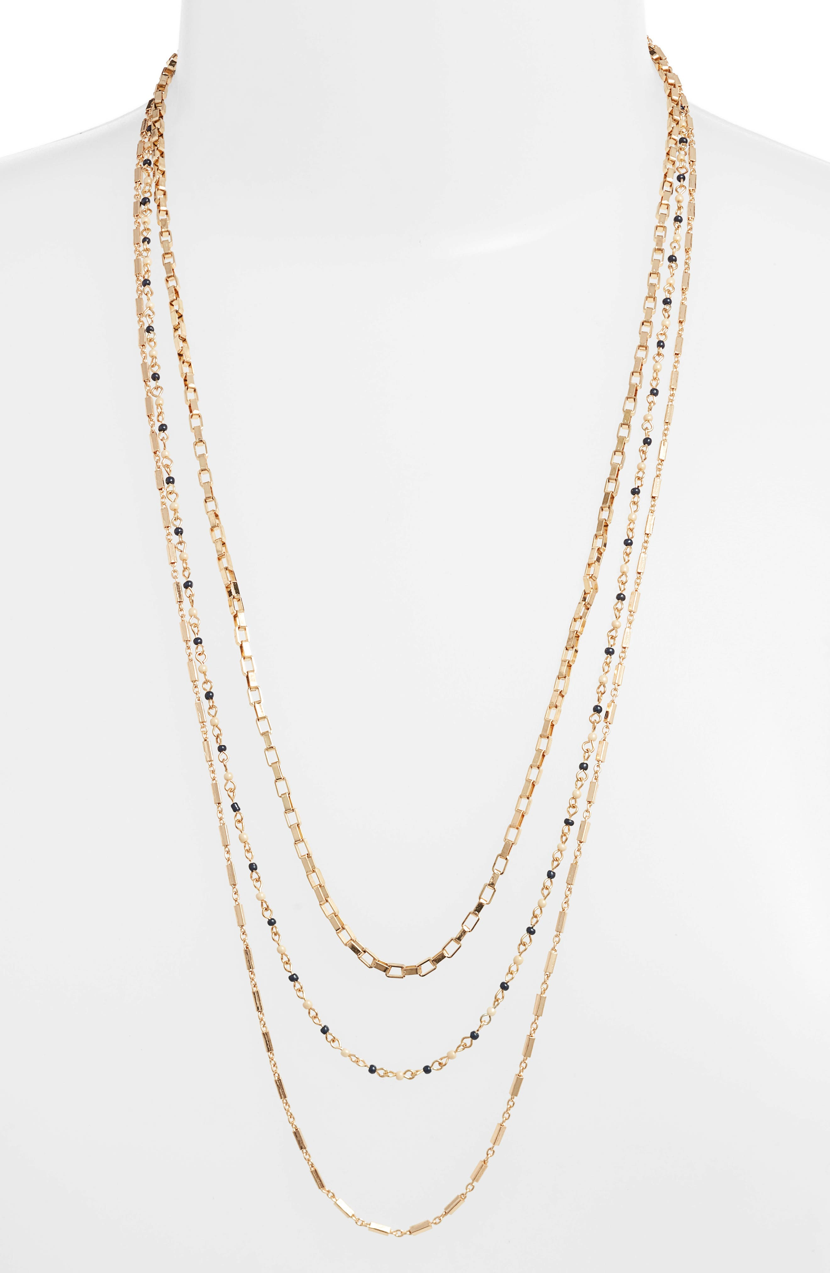 Layered Mixed Chain Necklace,                             Main thumbnail 1, color,                             NAVY MULTI/ GOLD