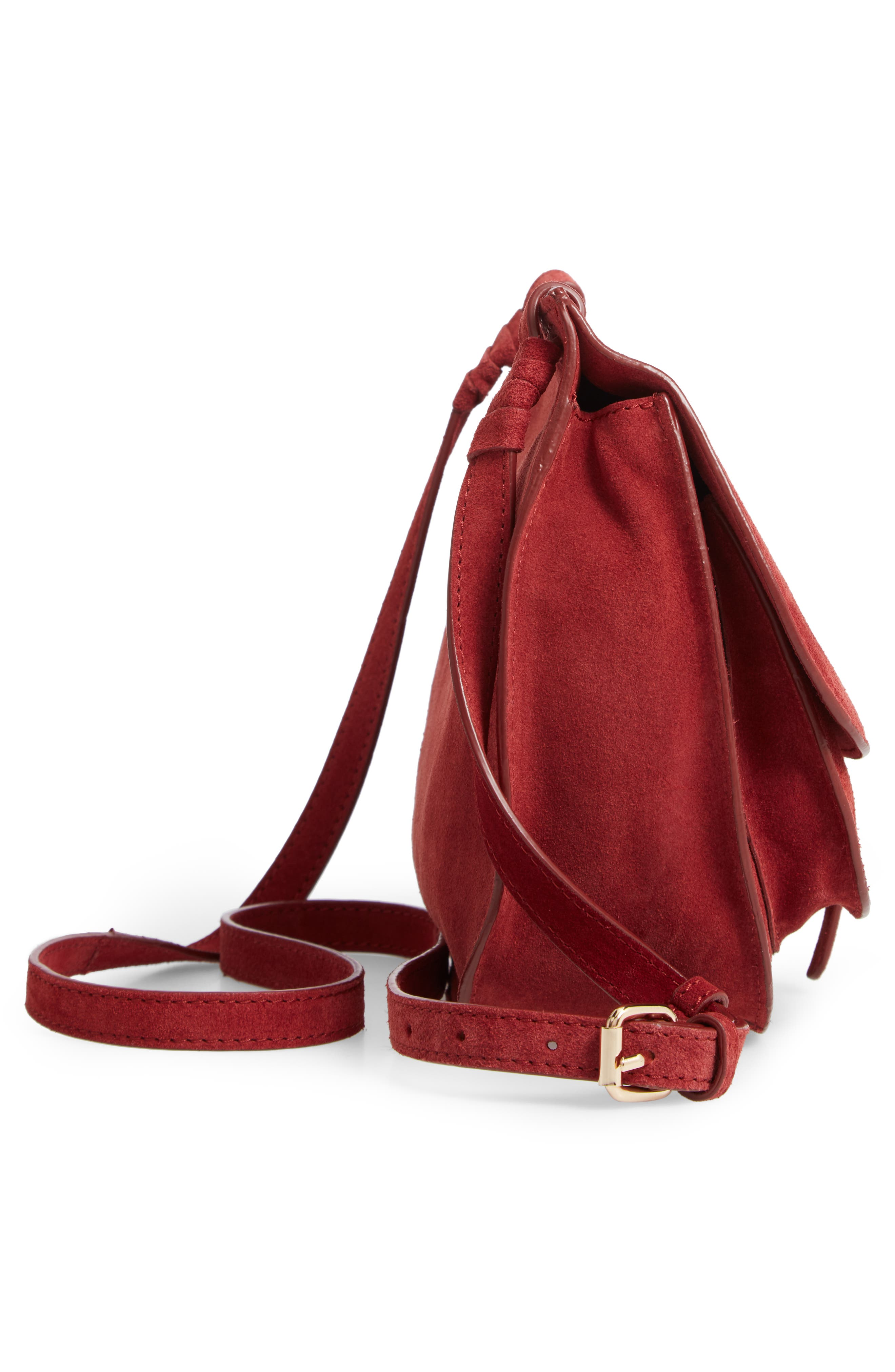 LEITH,                             Suede Crossbody Saddle Bag,                             Alternate thumbnail 6, color,                             805