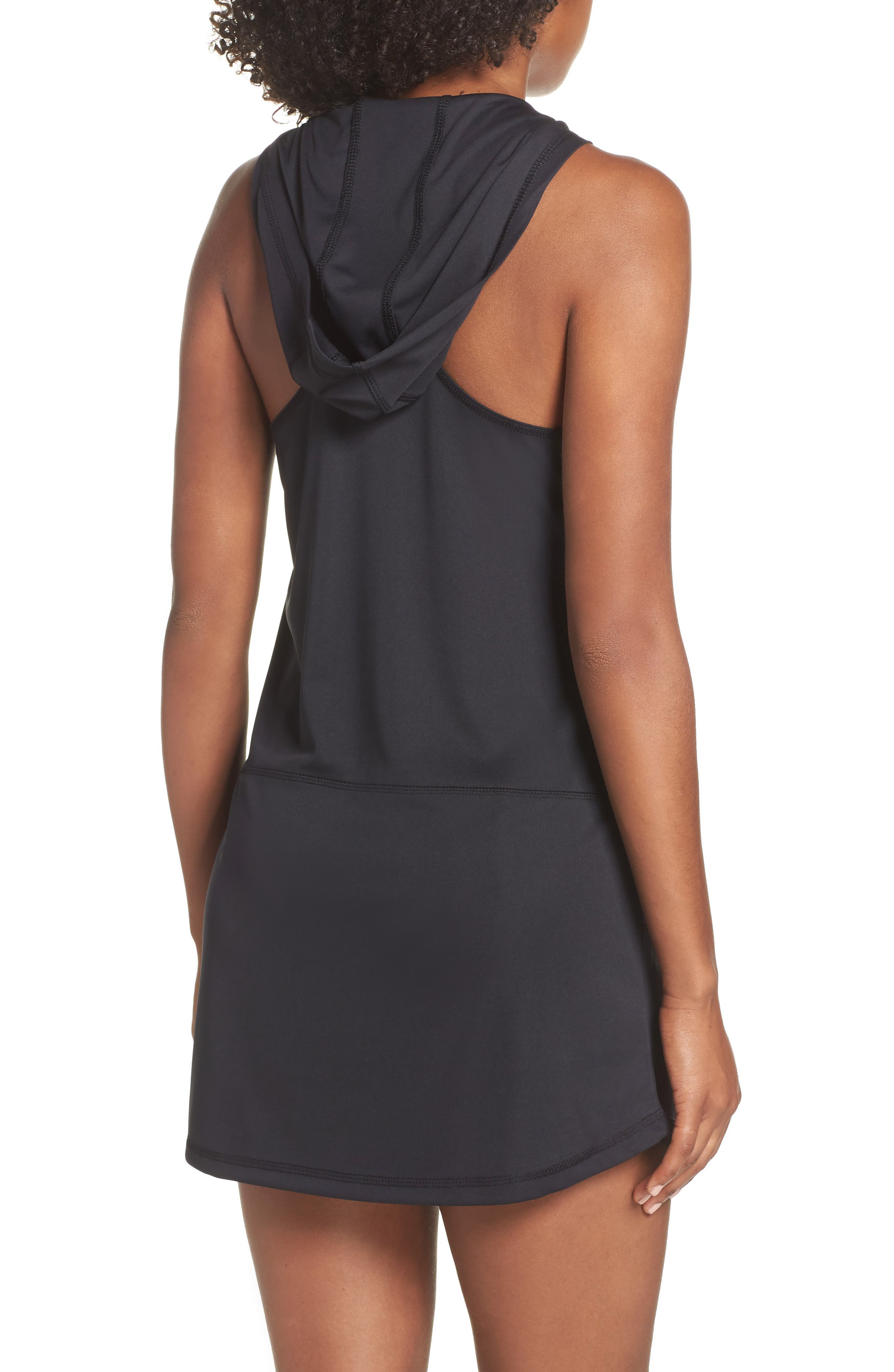 Hooded Cover-Up Dress,                             Alternate thumbnail 2, color,                             BLACK