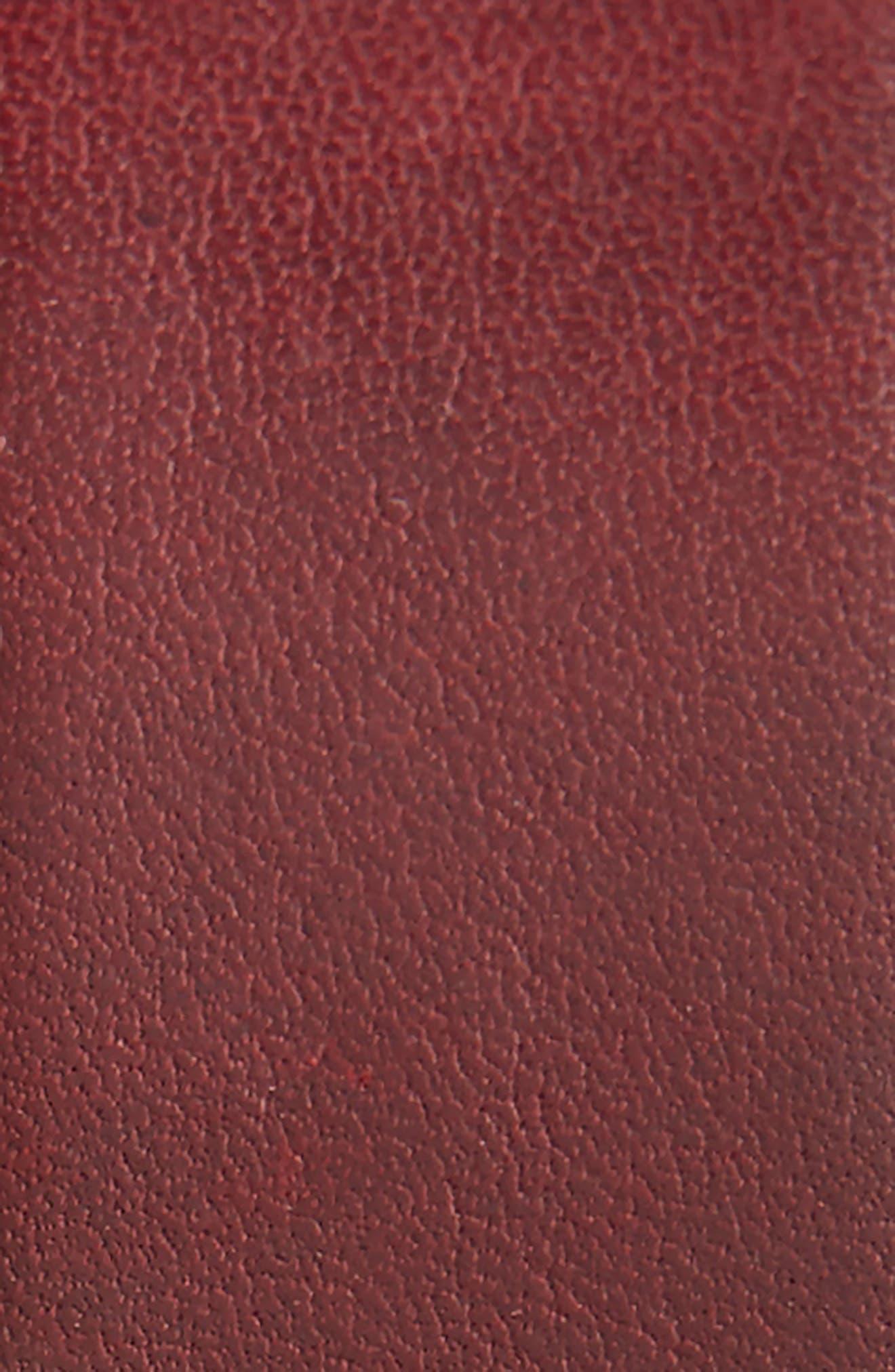 Burnished Brogue Leather Belt,                             Alternate thumbnail 2, color,                             RED