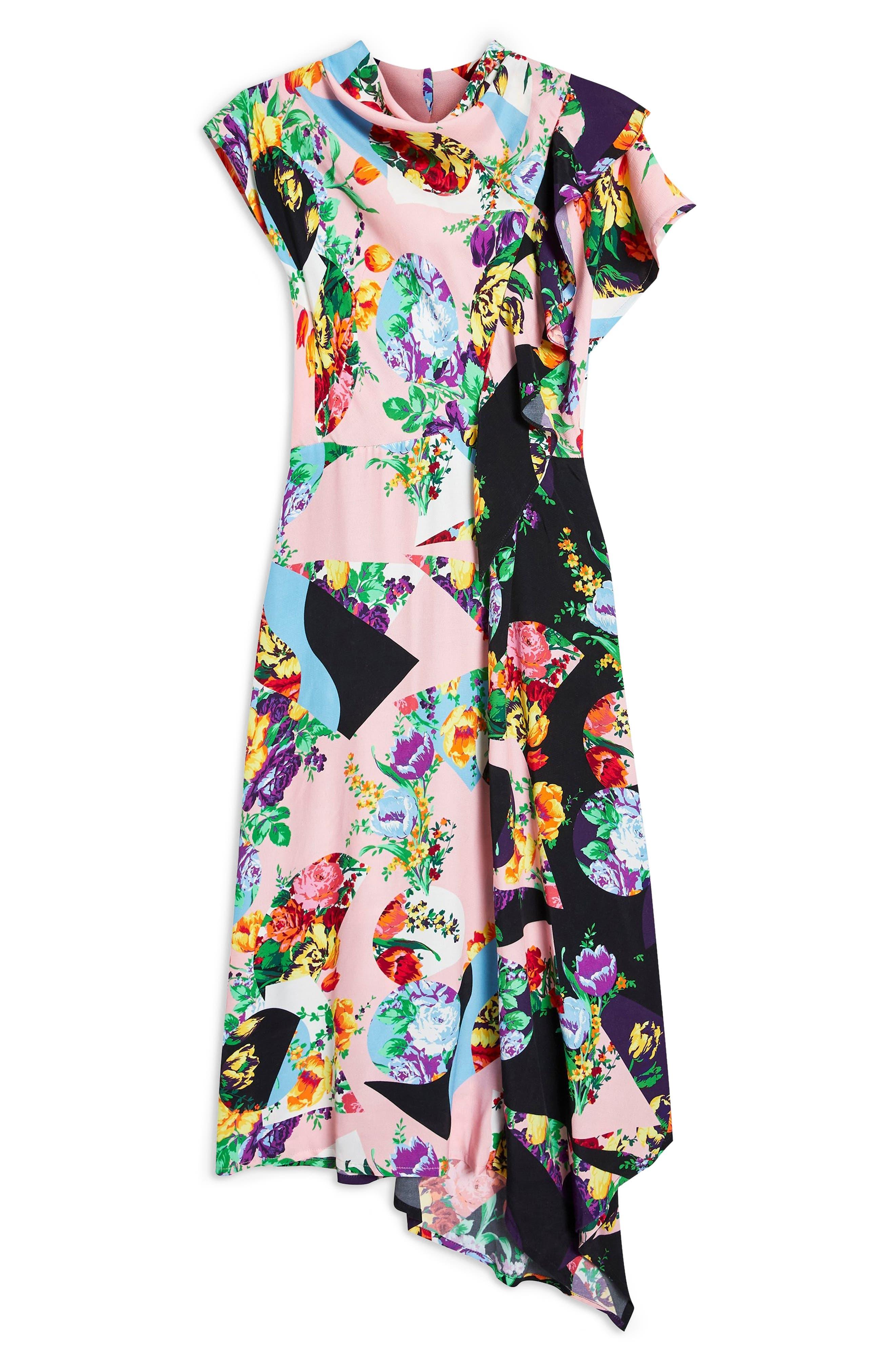 Cowl Back Midi Dress,                             Alternate thumbnail 6, color,                             PINK MULTI
