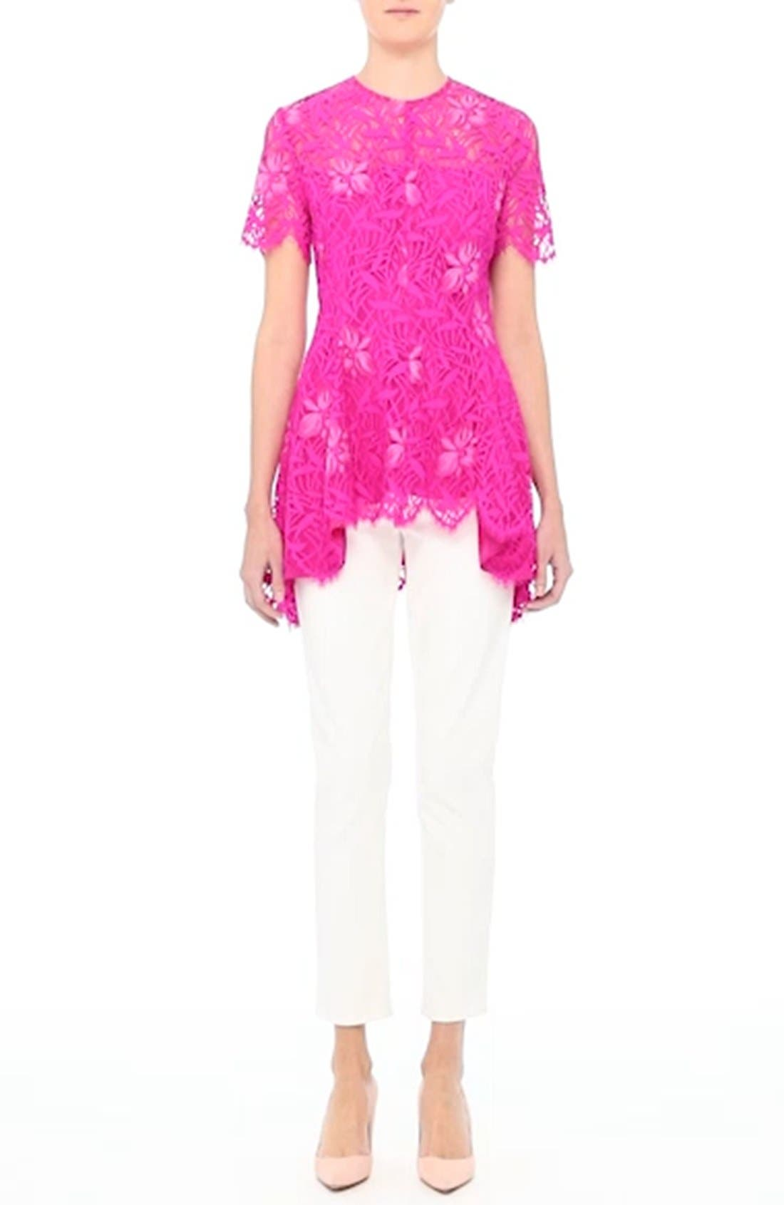 Floral Lace Peplum Top,                             Alternate thumbnail 7, color,