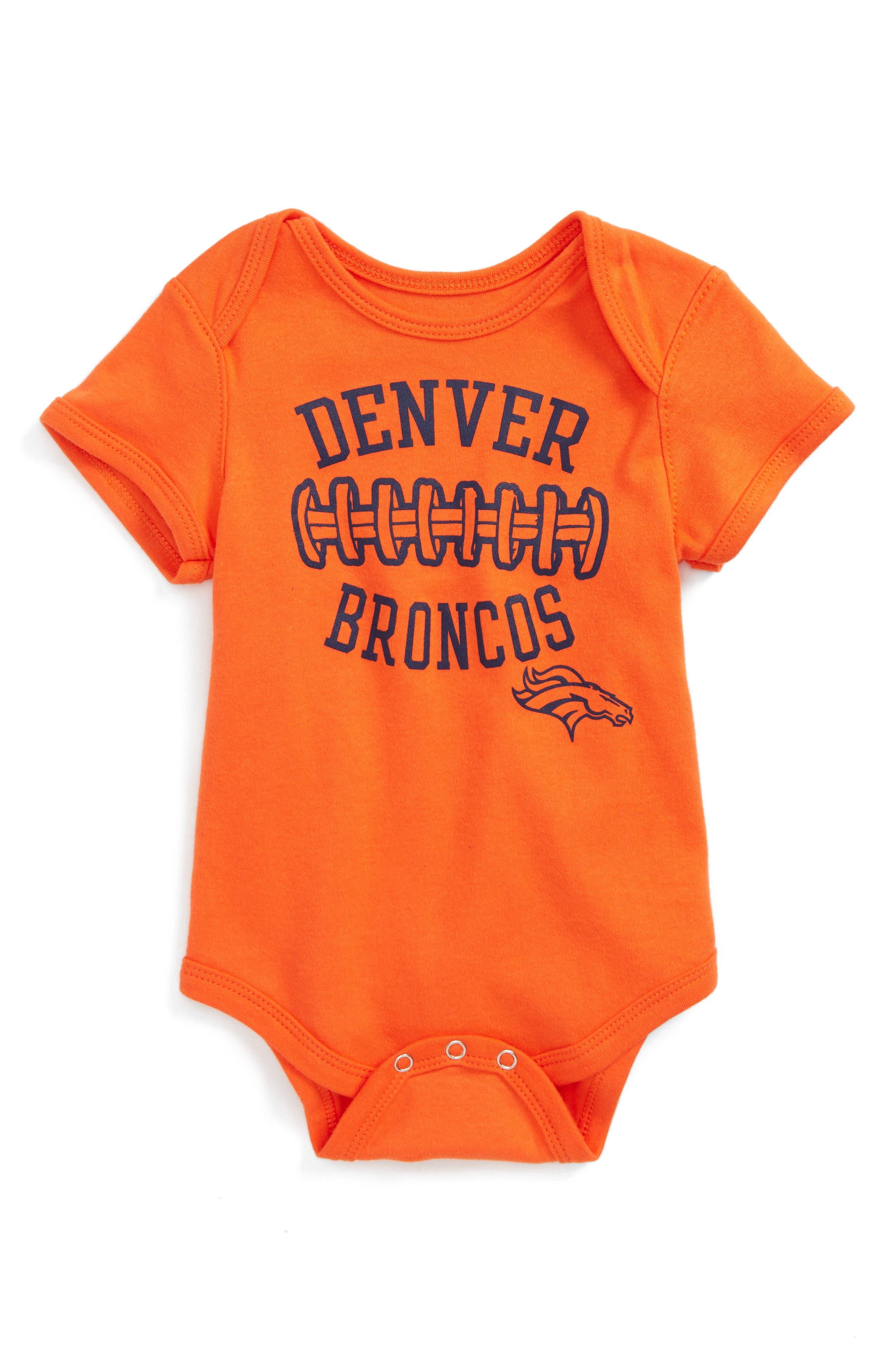 NFL Logo Denver Broncos Fan-Atic Football Bodysuit,                             Main thumbnail 1, color,                             401