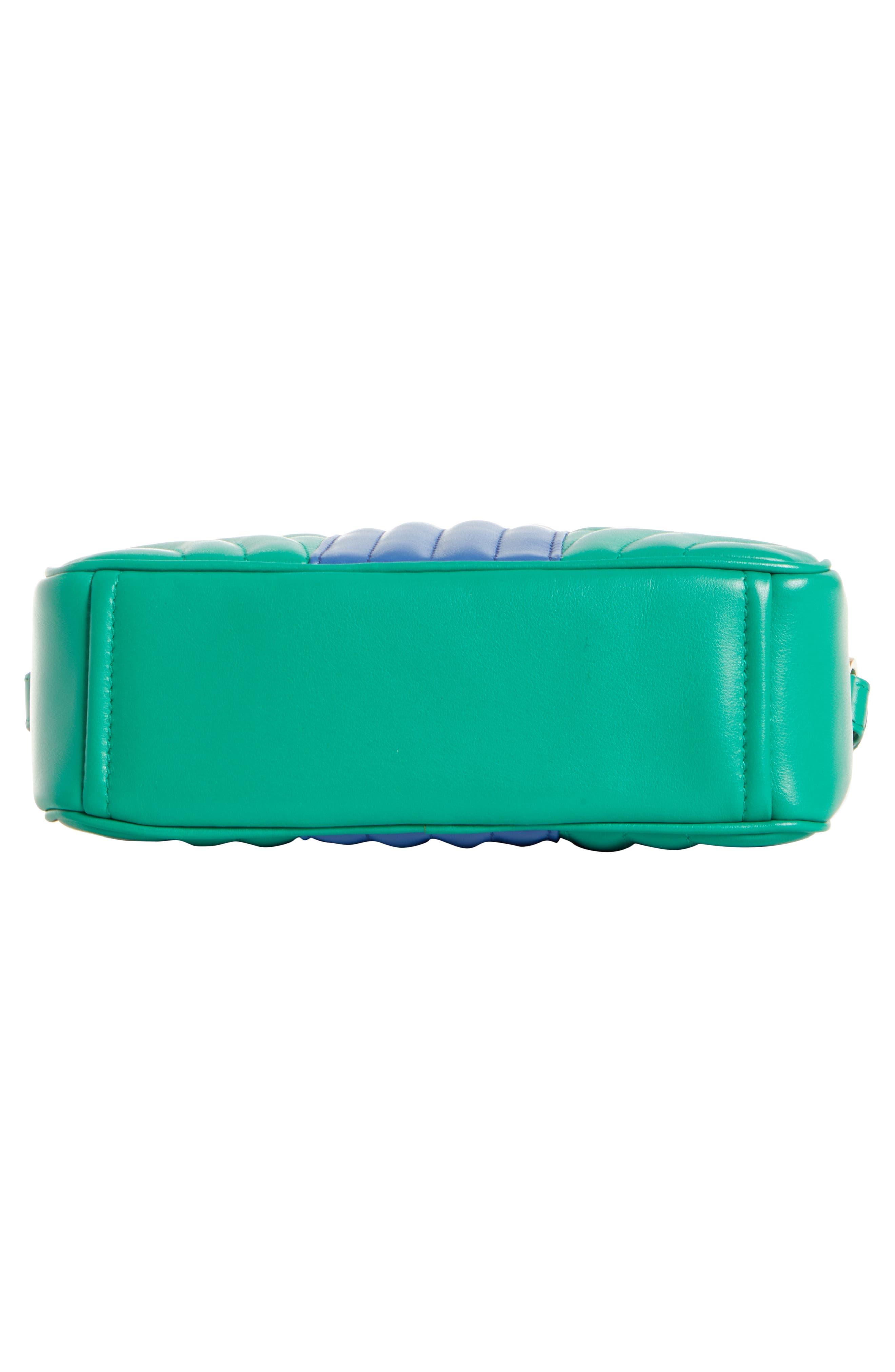 PRADA,                             Diagrammed Colorblock Leather Camera Bag,                             Alternate thumbnail 6, color,                             MANGO/ AZZURRO