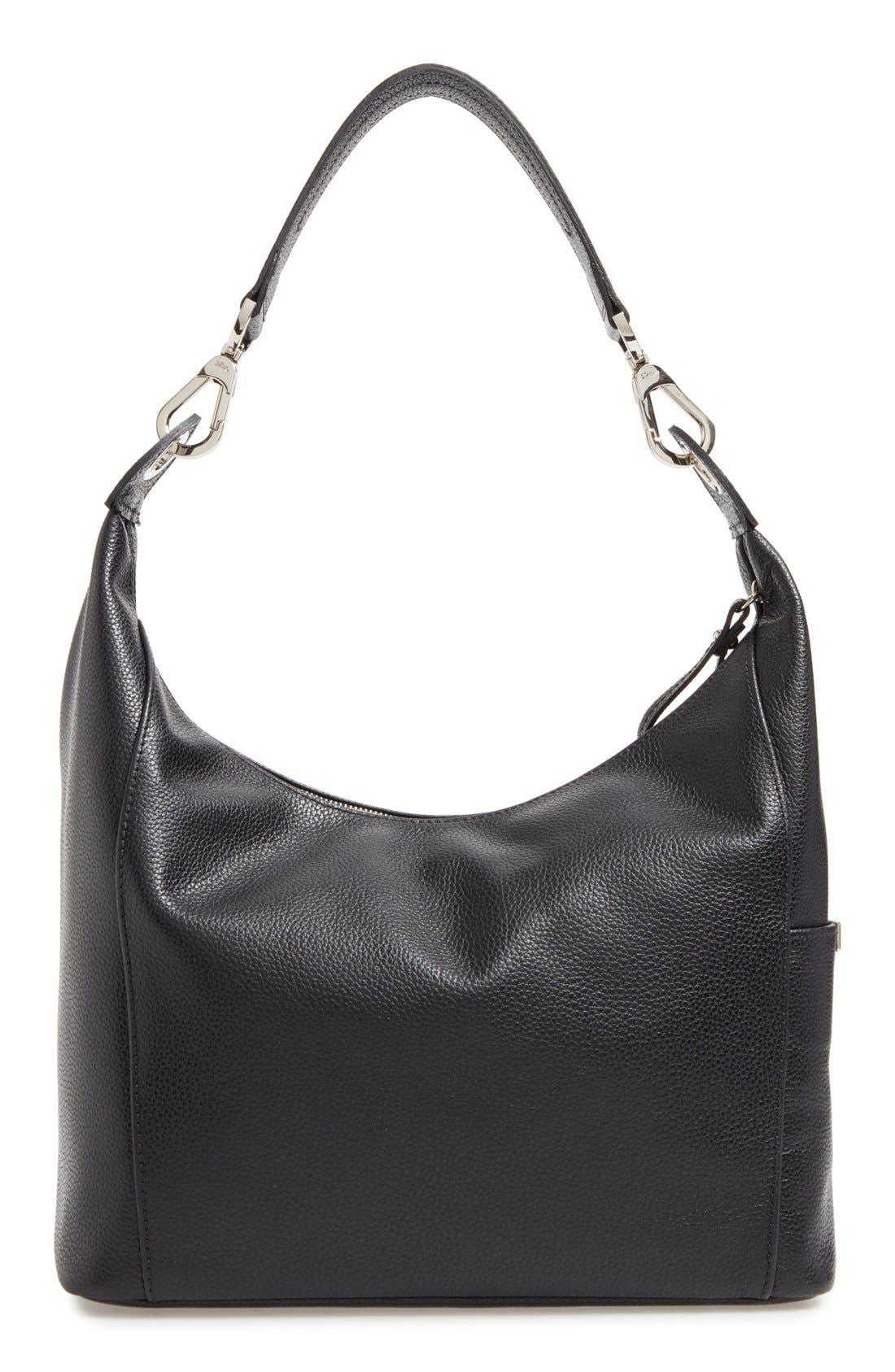'Le Foulonne' Leather Hobo Bag,                             Alternate thumbnail 3, color,                             BLACK