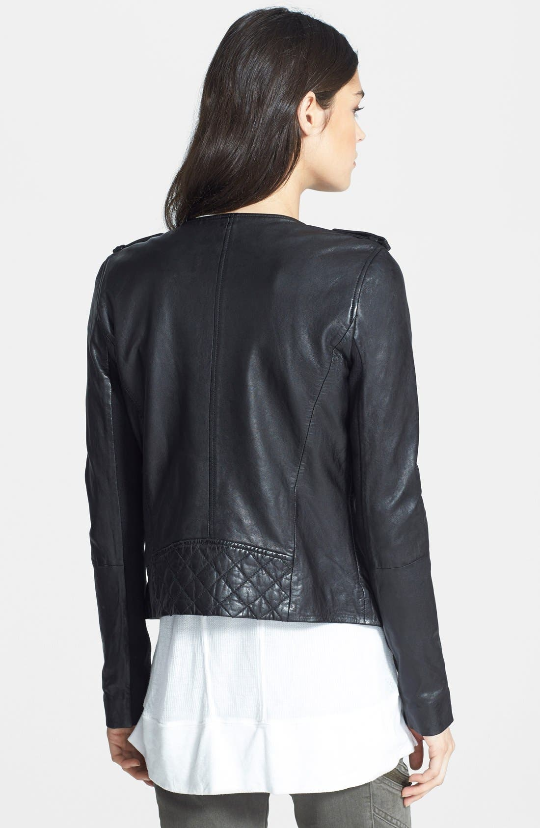 Quilted Leather Jacket,                             Alternate thumbnail 2, color,                             002