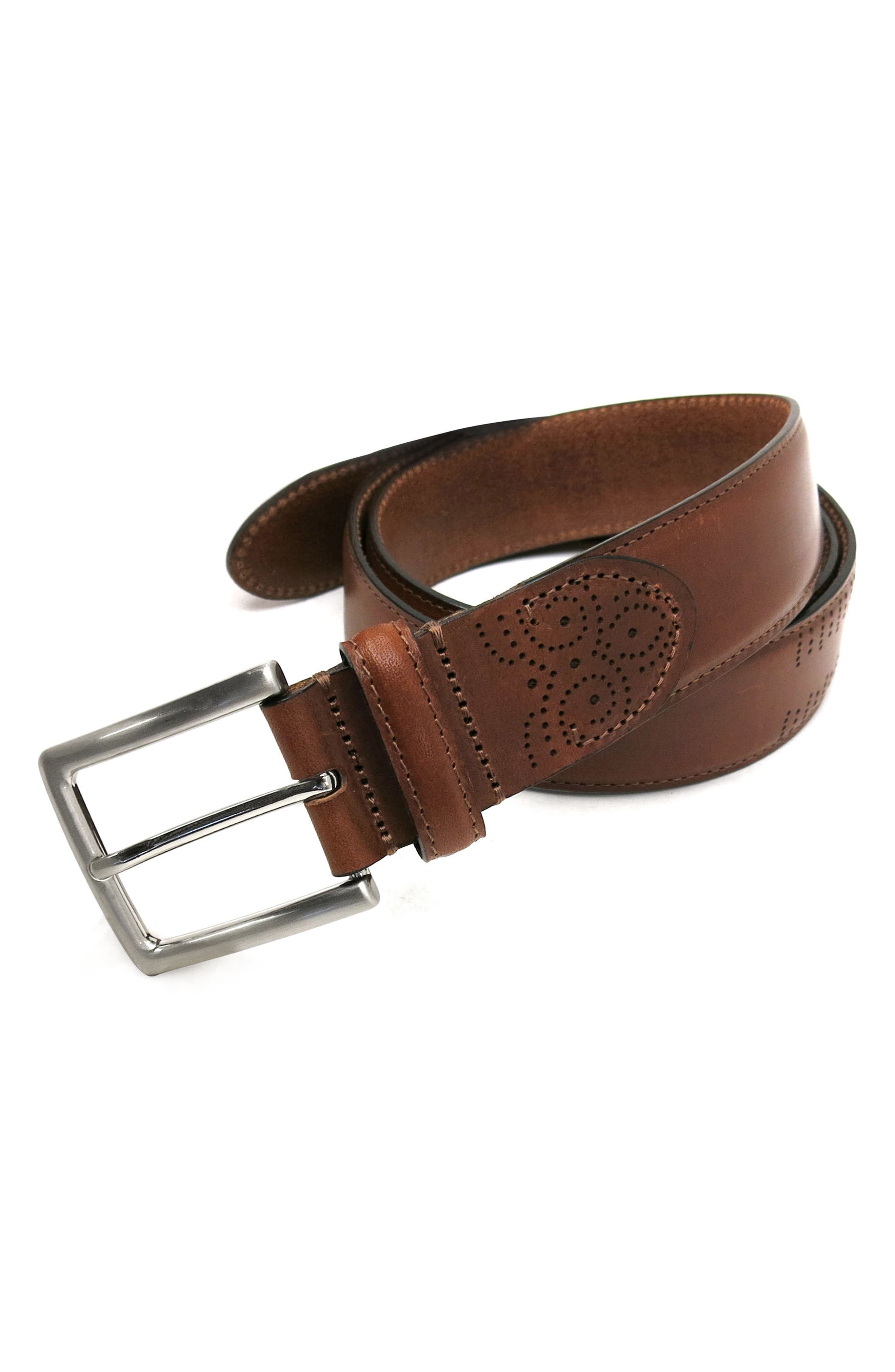 Perforated Tab Leather Belt,                             Alternate thumbnail 2, color,                             COGNAC