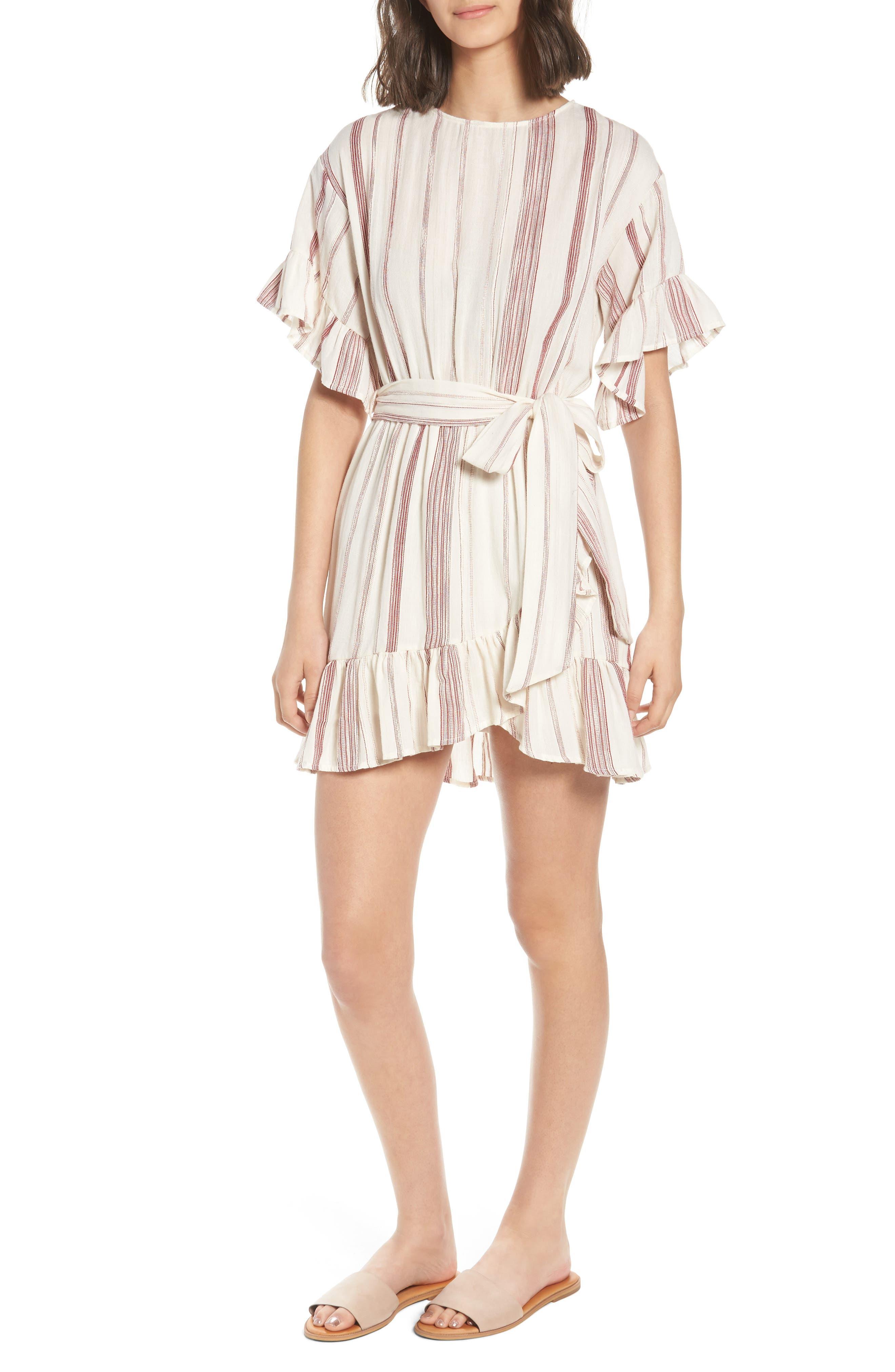 Marian Stripe Ruffle Minidress,                         Main,                         color, 600