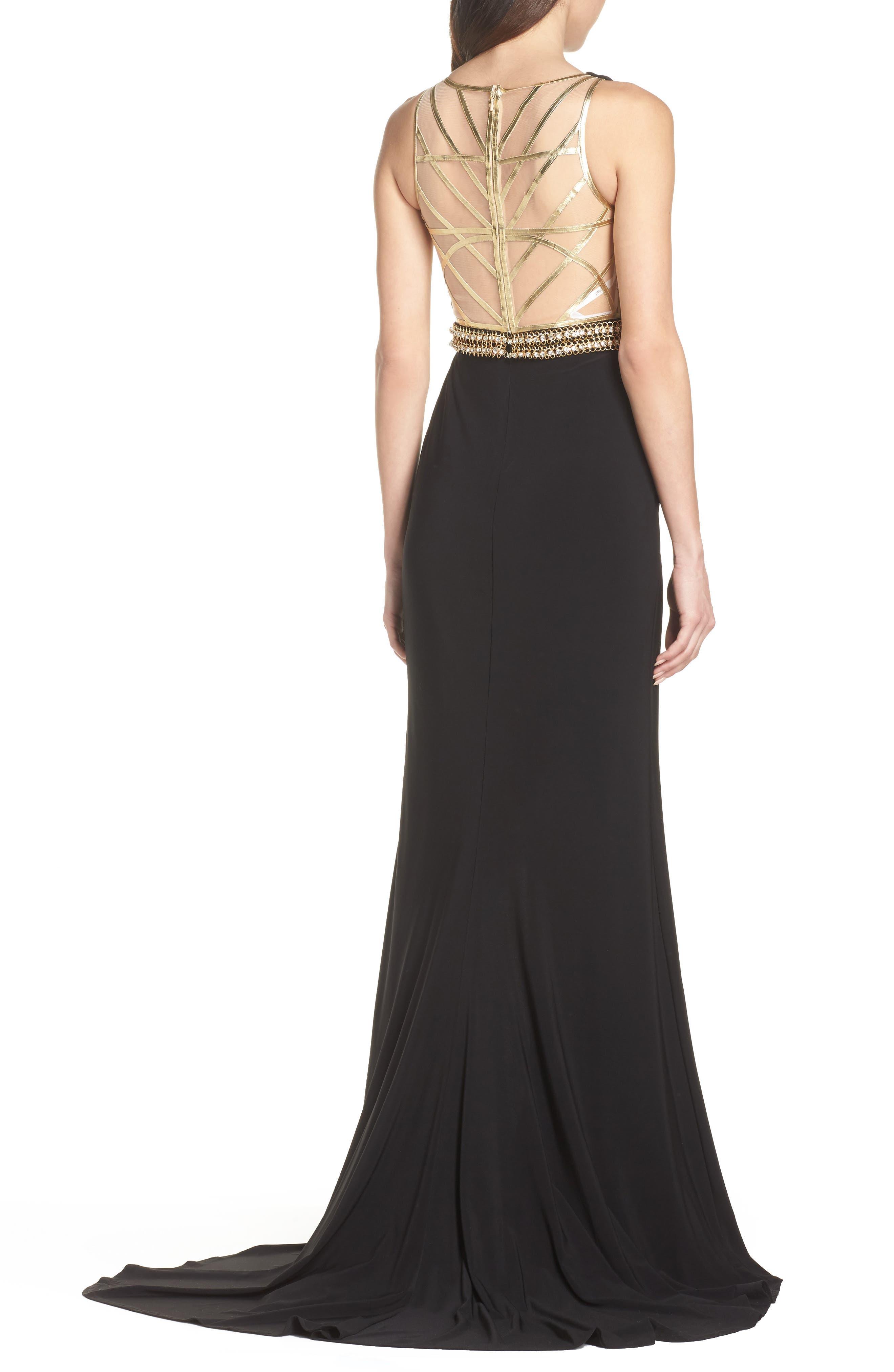 Embellished Waist Gown,                             Alternate thumbnail 2, color,                             BLACK