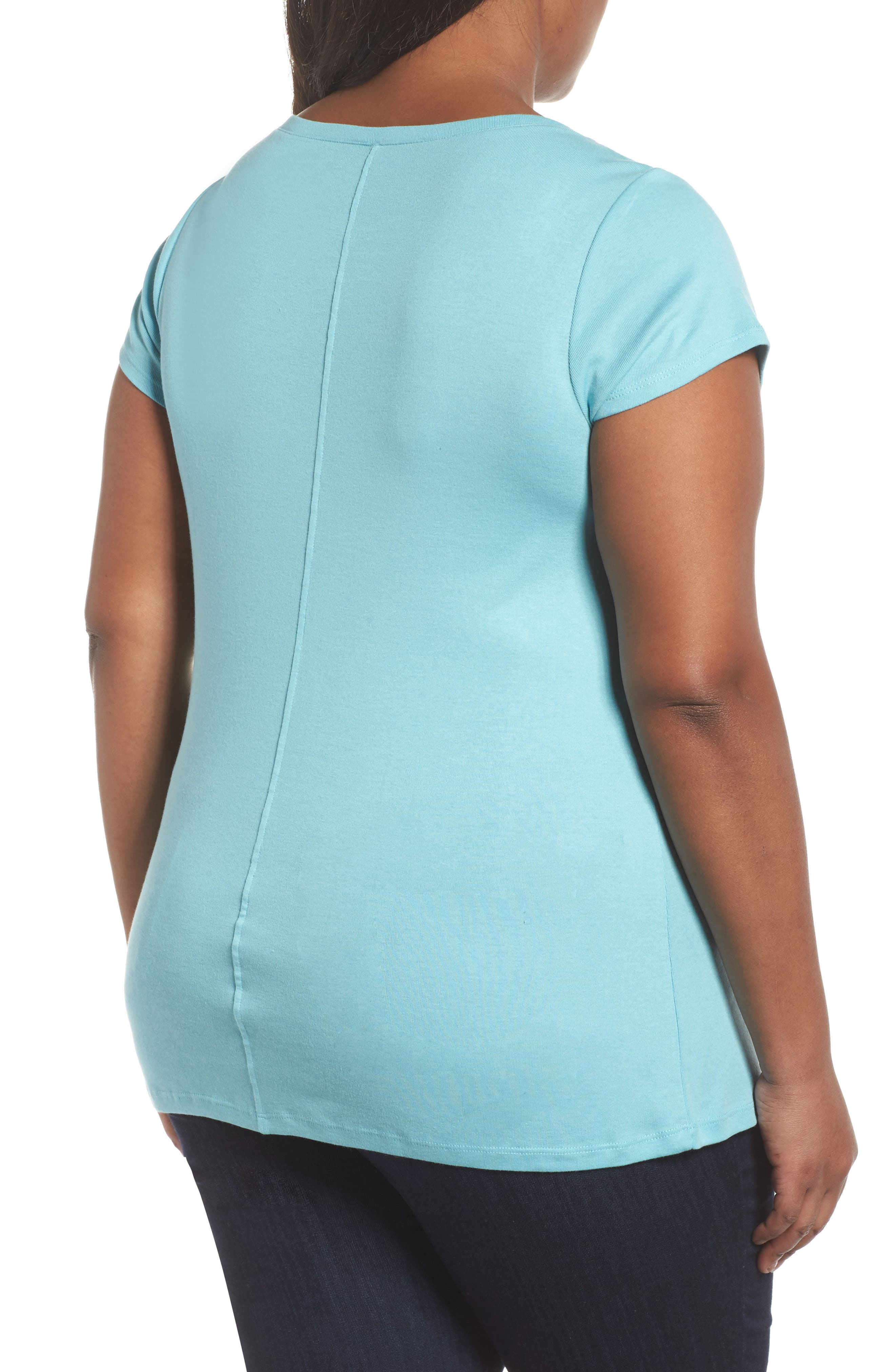 Cap Sleeve Ribbed Tee,                             Alternate thumbnail 2, color,                             420